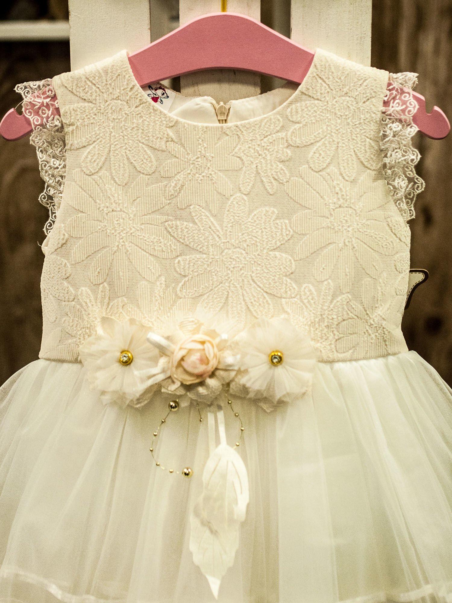85aa5efb5f Ecru wizytowa sukienka dla dziewczynki z odpinaną różyczką - Dziecko ...
