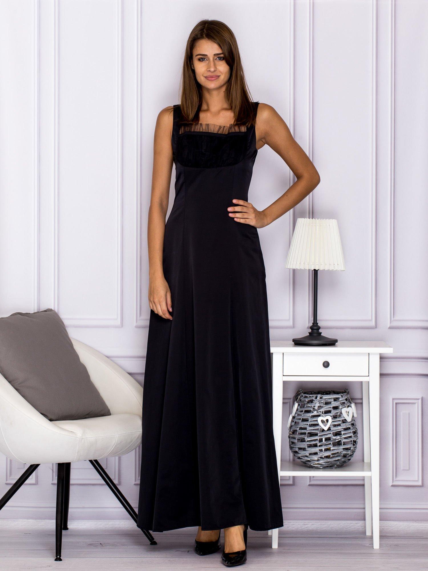 001e53daf2 Elegancka sukienka wieczorowa maxi czarna - Sukienka rozkloszowana ...