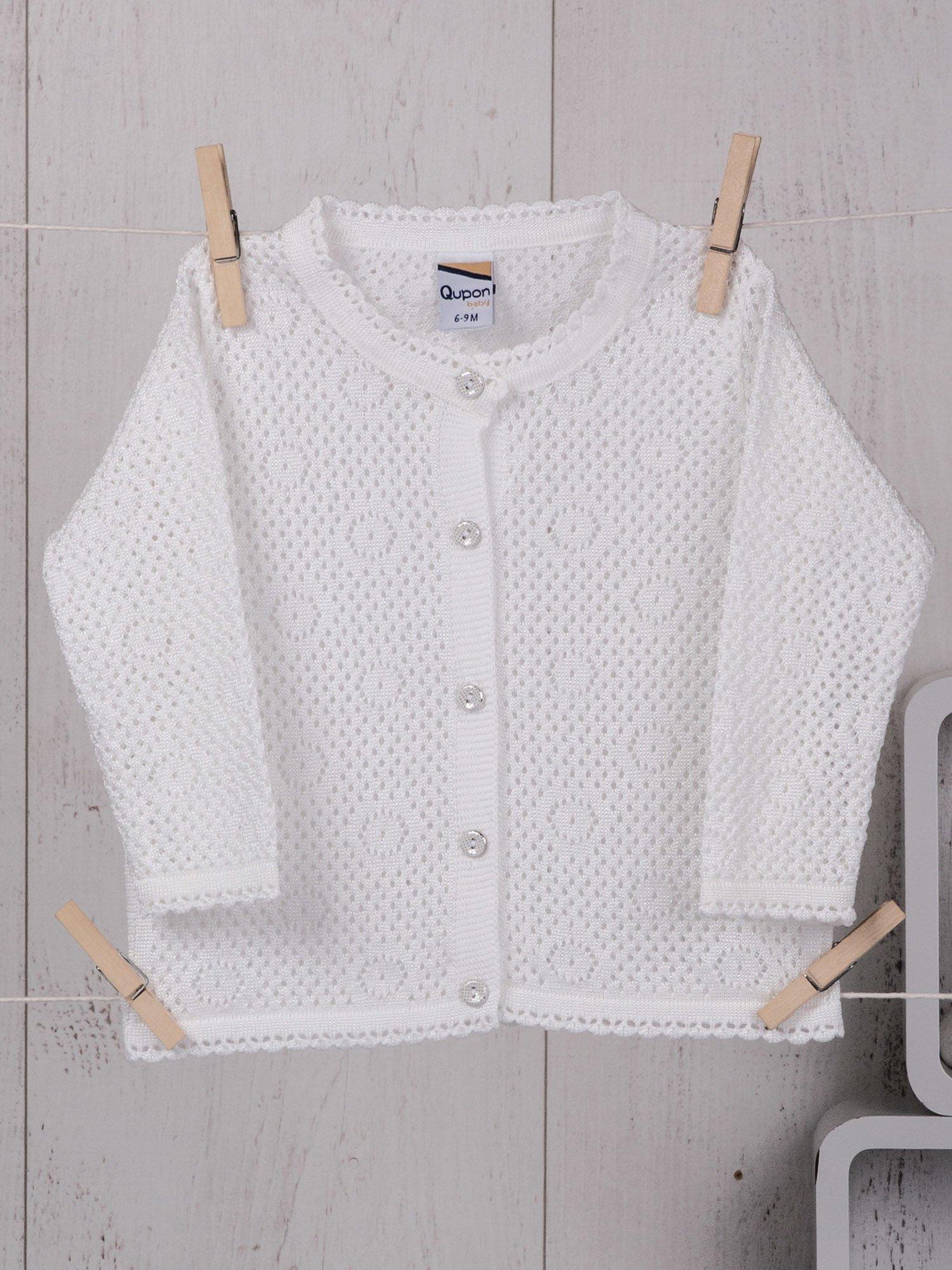 662a75a502 Elegancki ażurowy sweterek niemowlęcy dla dziewczynki ecru - Dziecko ...
