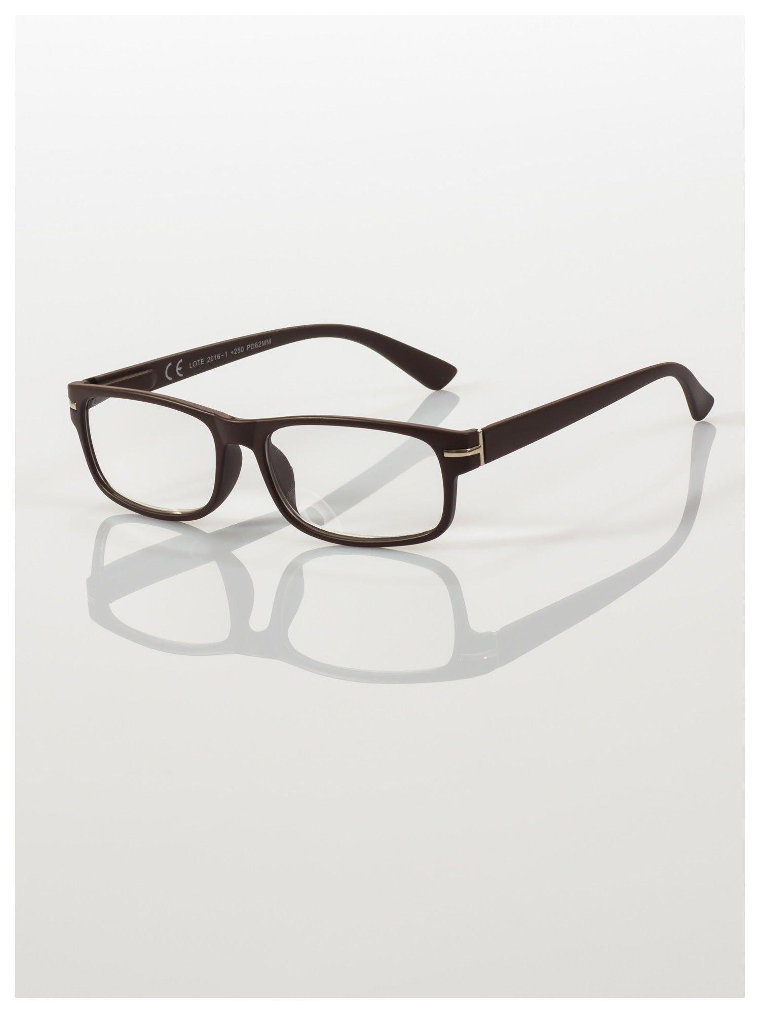 Eleganckie brązowe matowe korekcyjne okulary do czytania +3.0 D  z sytemem FLEX na zausznikach                                  zdj.                                  1
