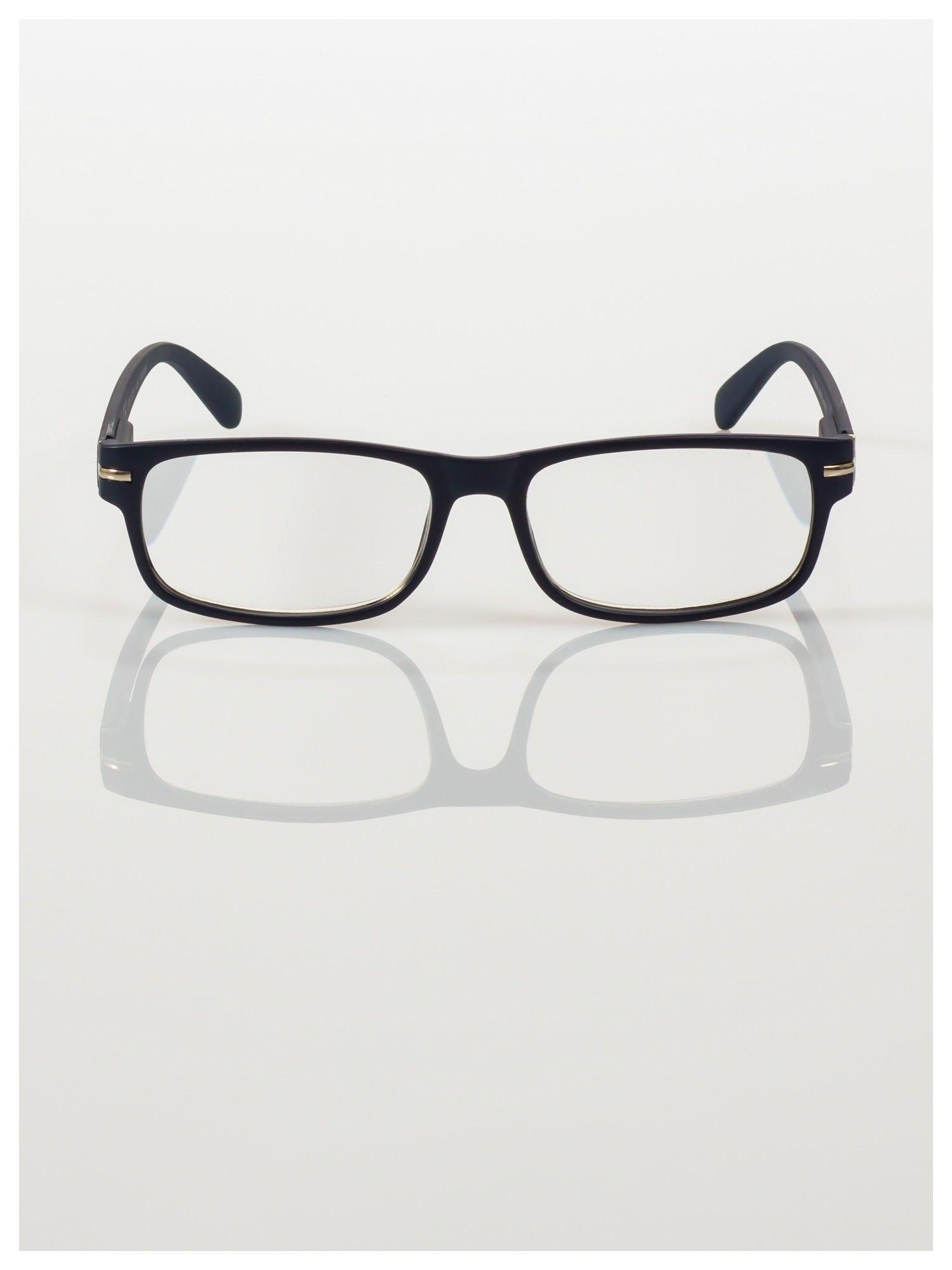 Eleganckie czarne matowe korekcyjne okulary do czytania +2.0 D  z sytemem FLEX na zausznikach                                  zdj.                                  2