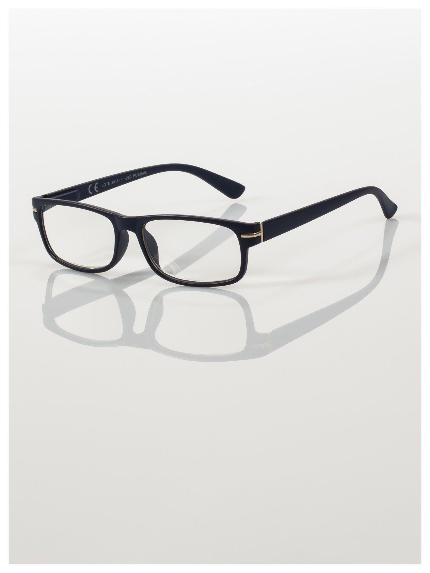 Eleganckie granatowe matowe korekcyjne okulary do czytania +1.0 D  z sytemem FLEX na zausznikach                                  zdj.                                  1