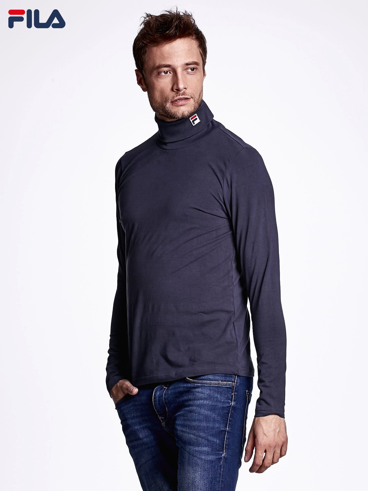 FILA Grafitowa bluzka męska z golfem