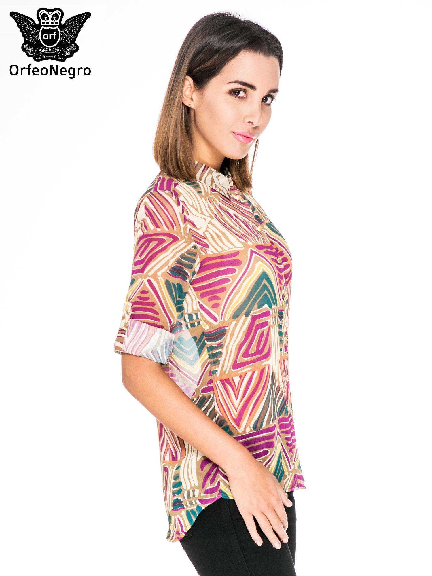Fioletowa koszula w kolorowe zygzaki                                  zdj.                                  5