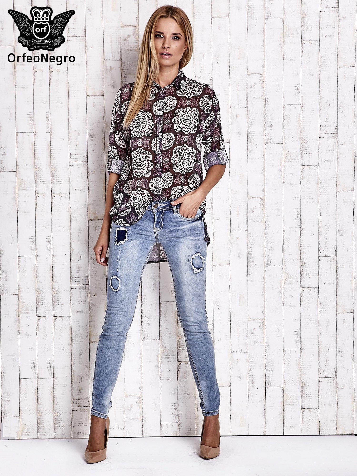 Fioletowa koszula w ornamenty kwiatowe                                  zdj.                                  8
