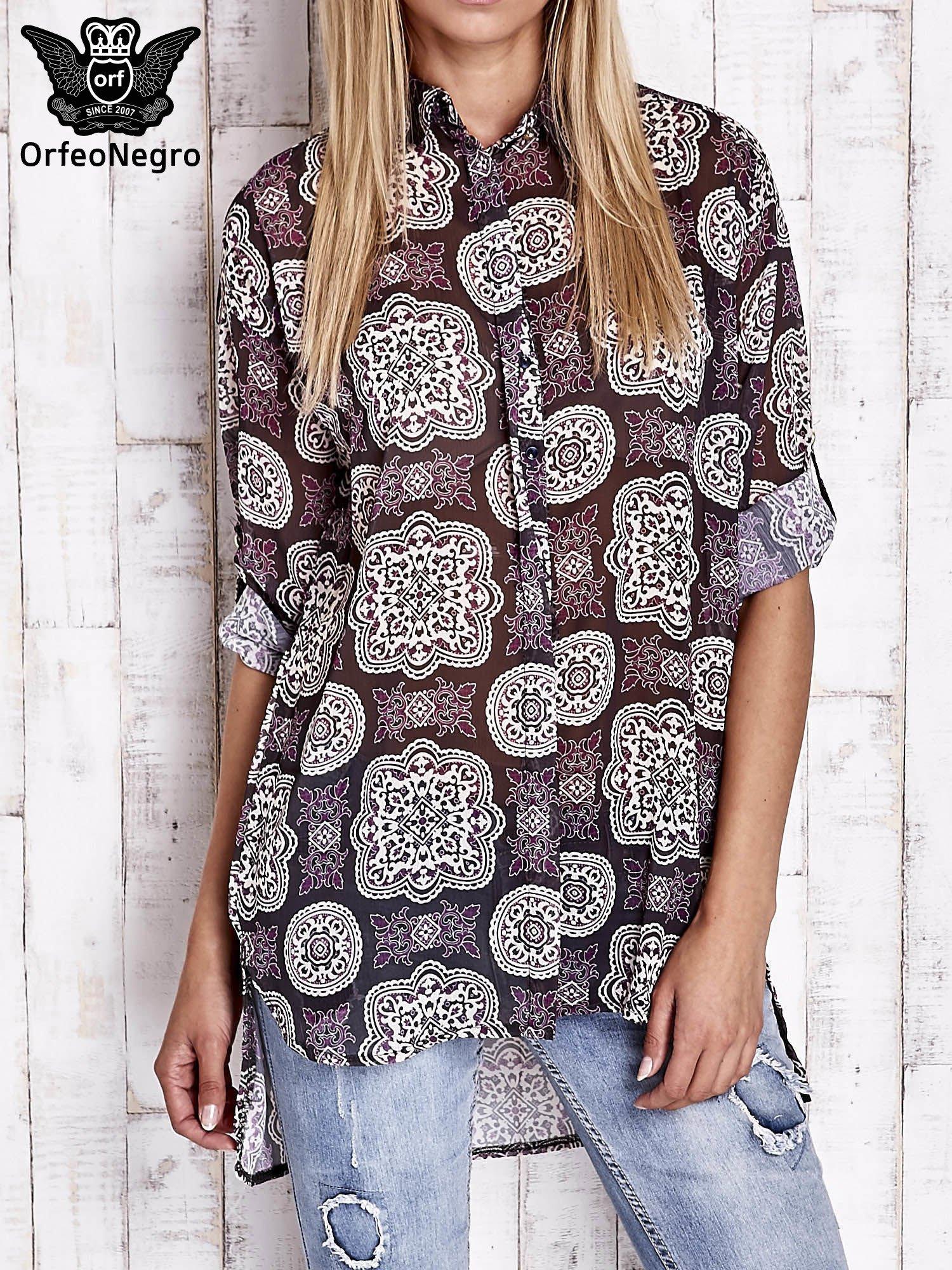 Fioletowa koszula w ornamenty kwiatowe                                  zdj.                                  1