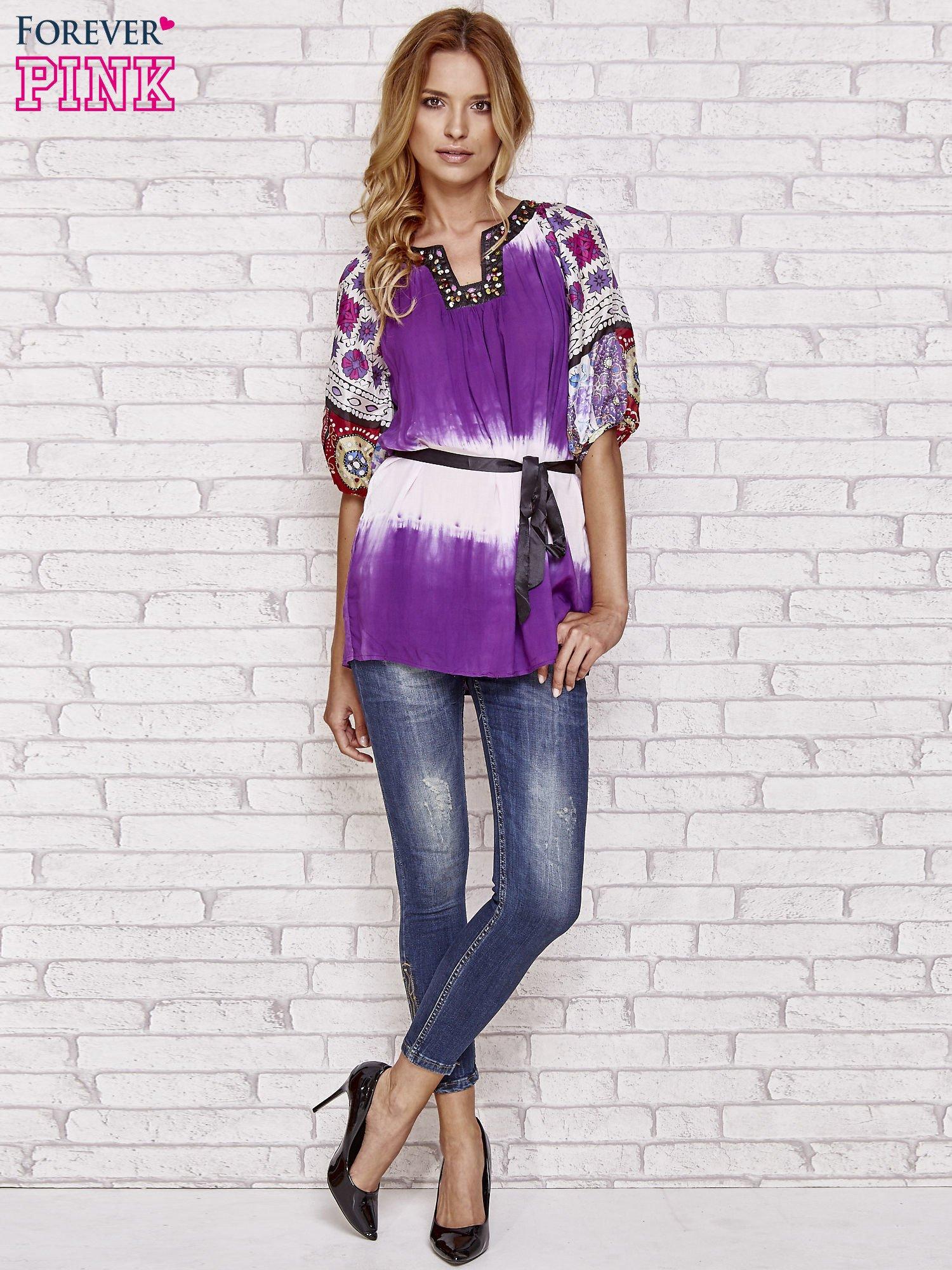 Fioletowa koszula wiązana w pasie z ozdobnymi kamieniami                                  zdj.                                  4