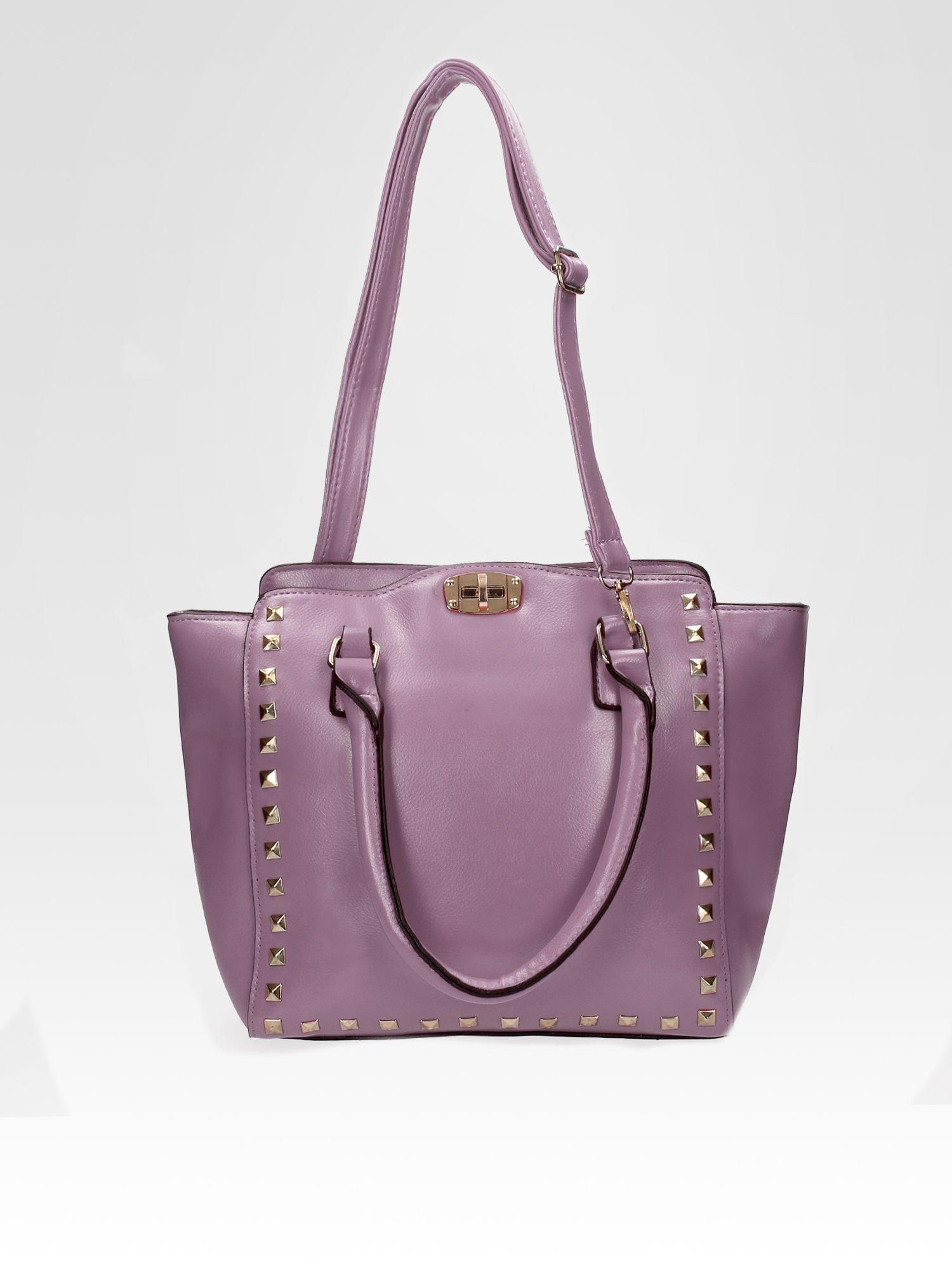 Fioletowa torebka na ramię z dżetami                                  zdj.                                  4