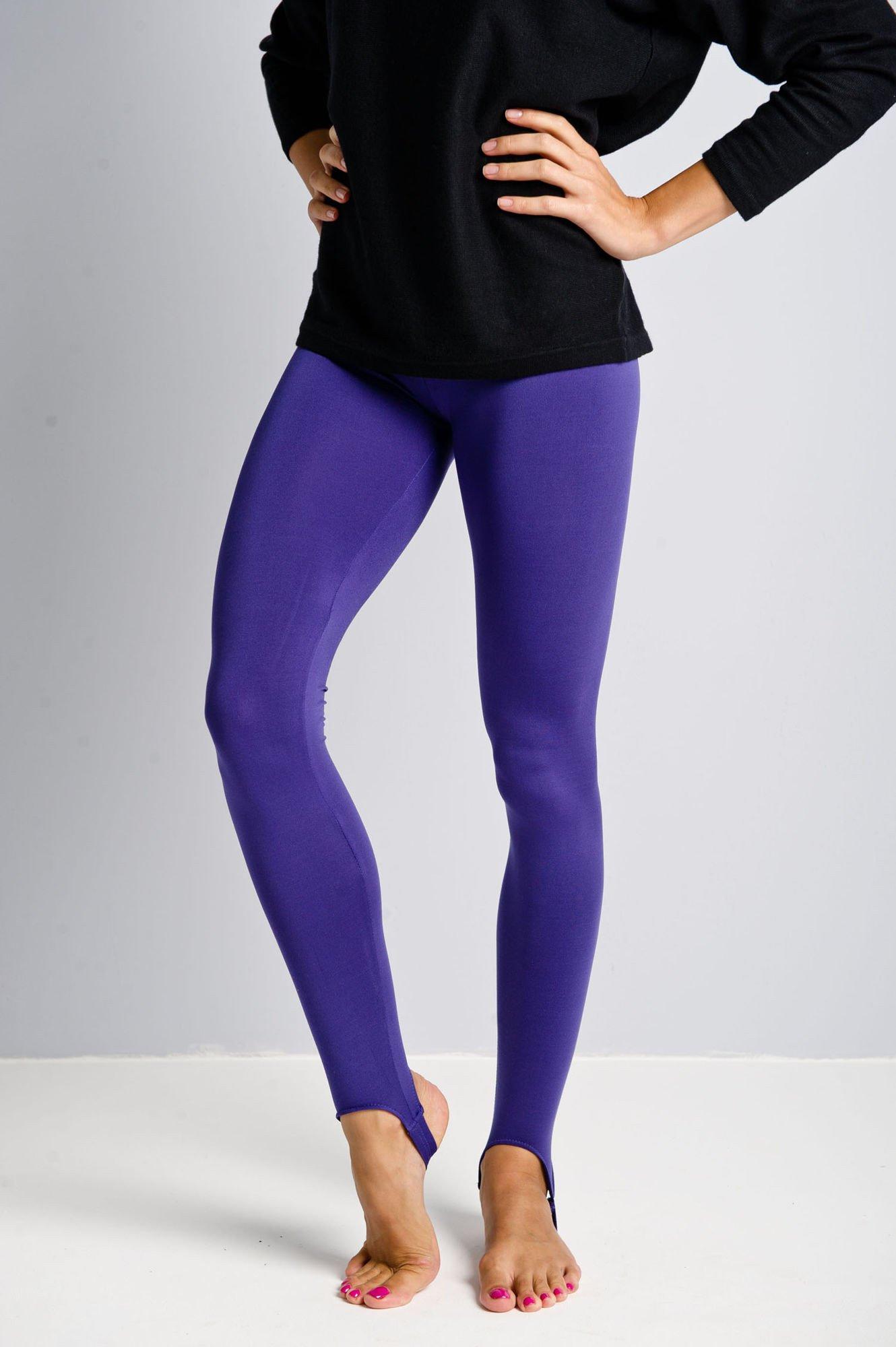 Fioletowe legginsy zakładane na stopę                                  zdj.                                  1