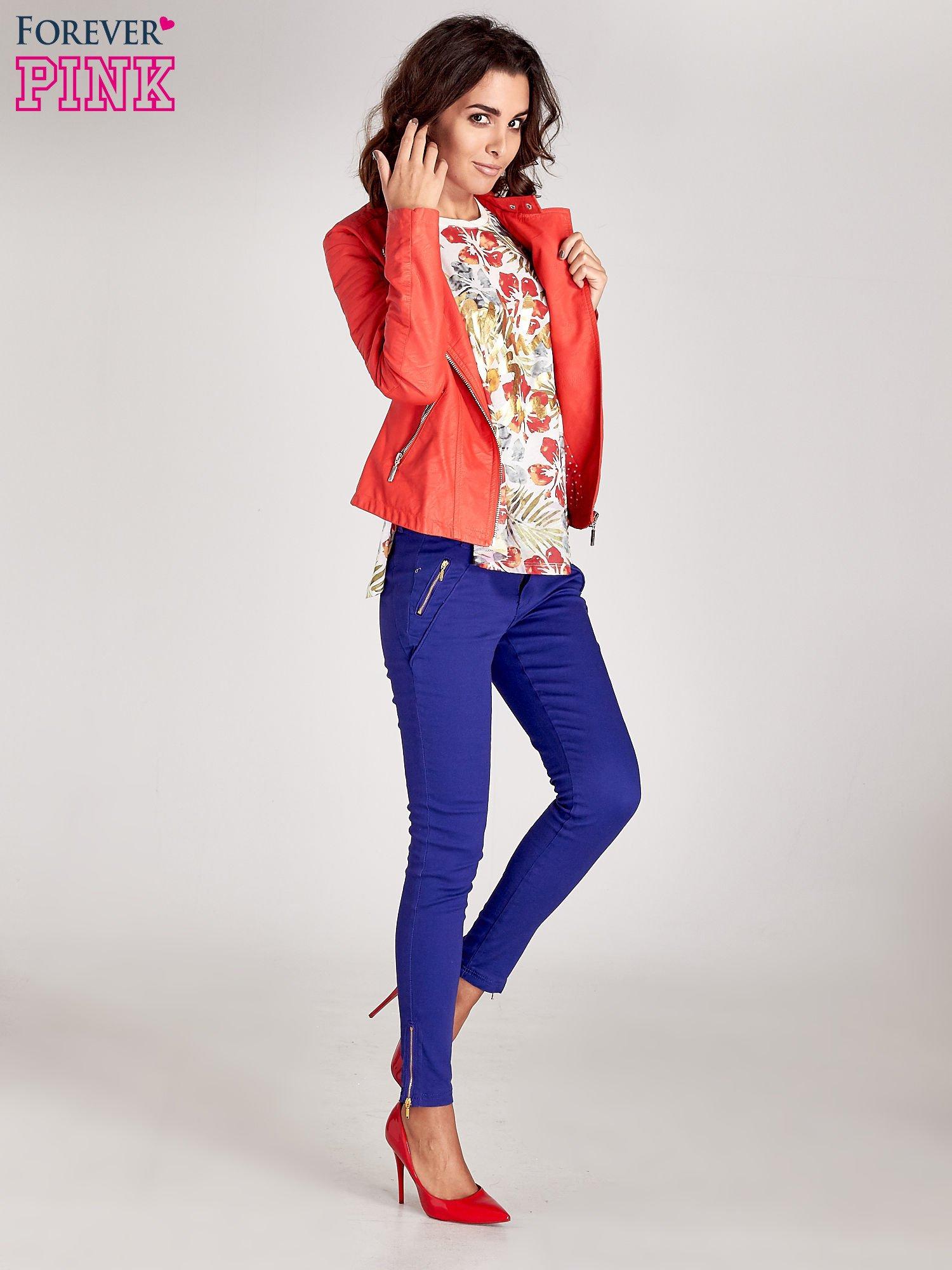 Fioletowe spodnie ze złotymi suwakami                                  zdj.                                  12