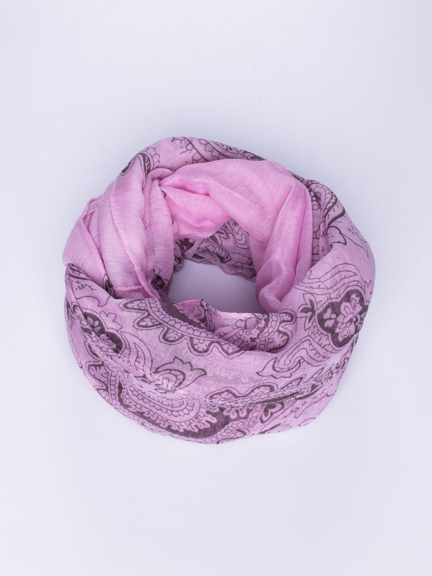 Fioletowy orientalny szal we wzór paisley                                  zdj.                                  1