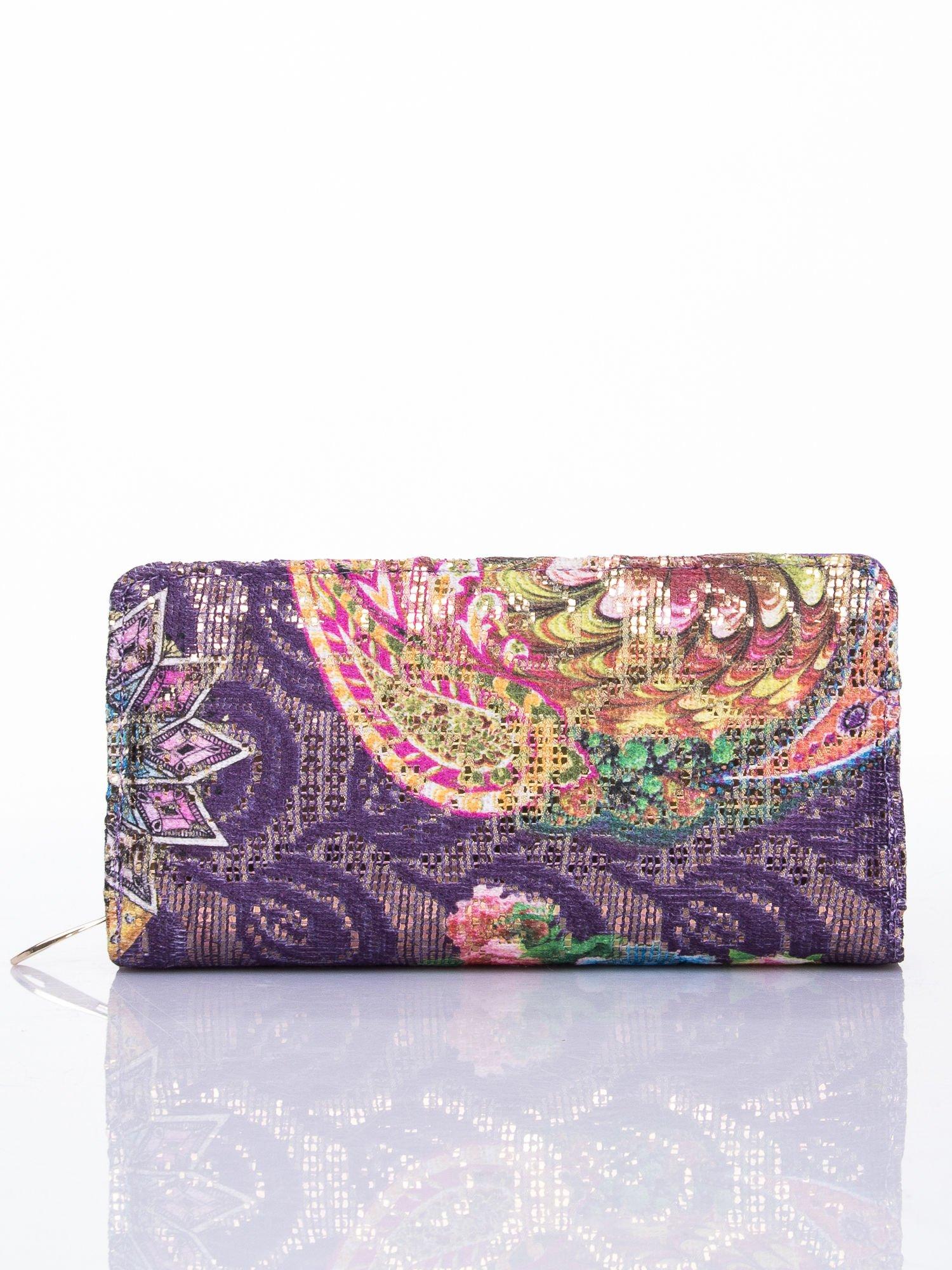 Fioletowy portfel z nadrukiem paisley                                  zdj.                                  1