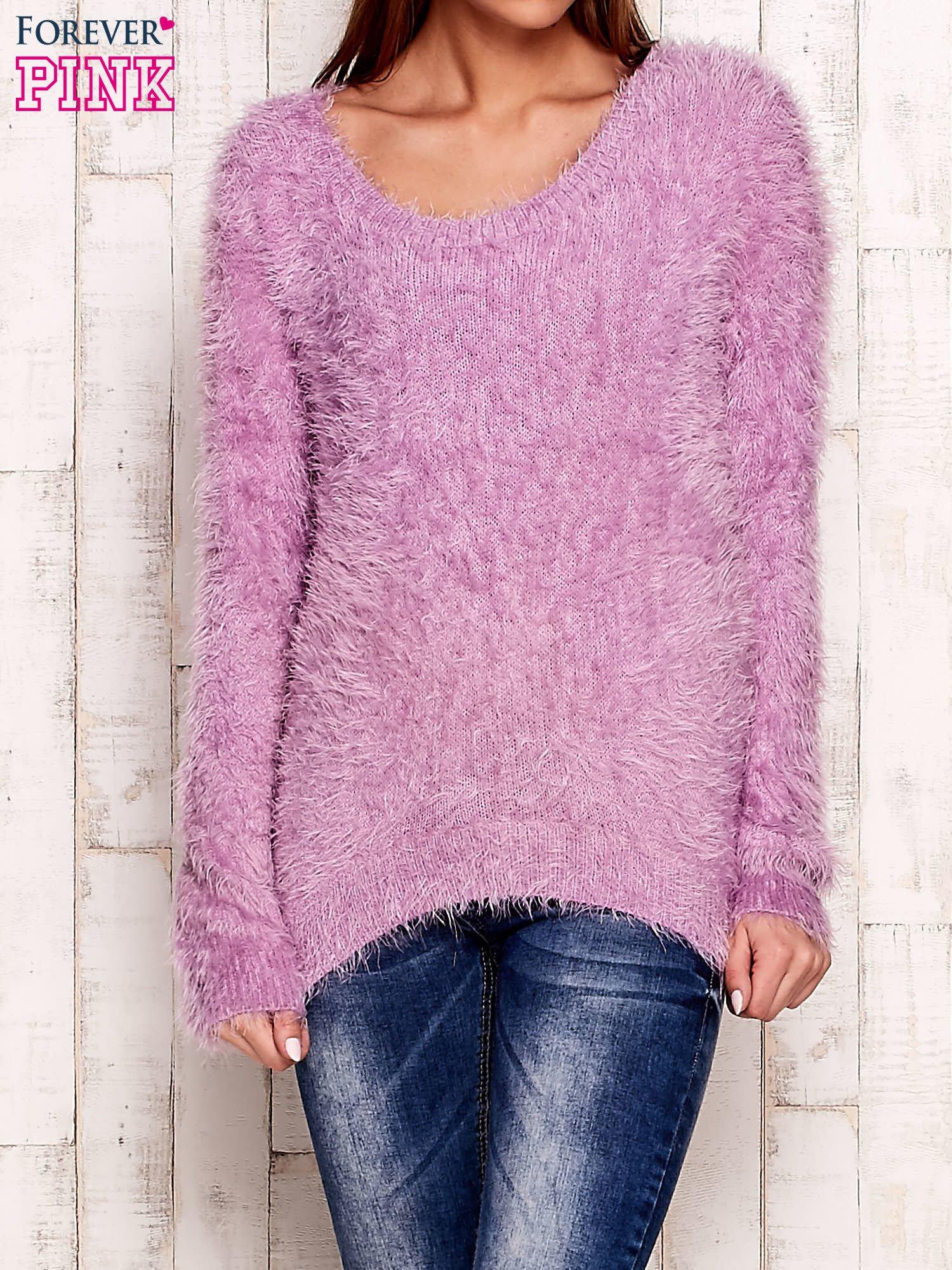 Fioletowy sweter z długim włosem                                  zdj.                                  1