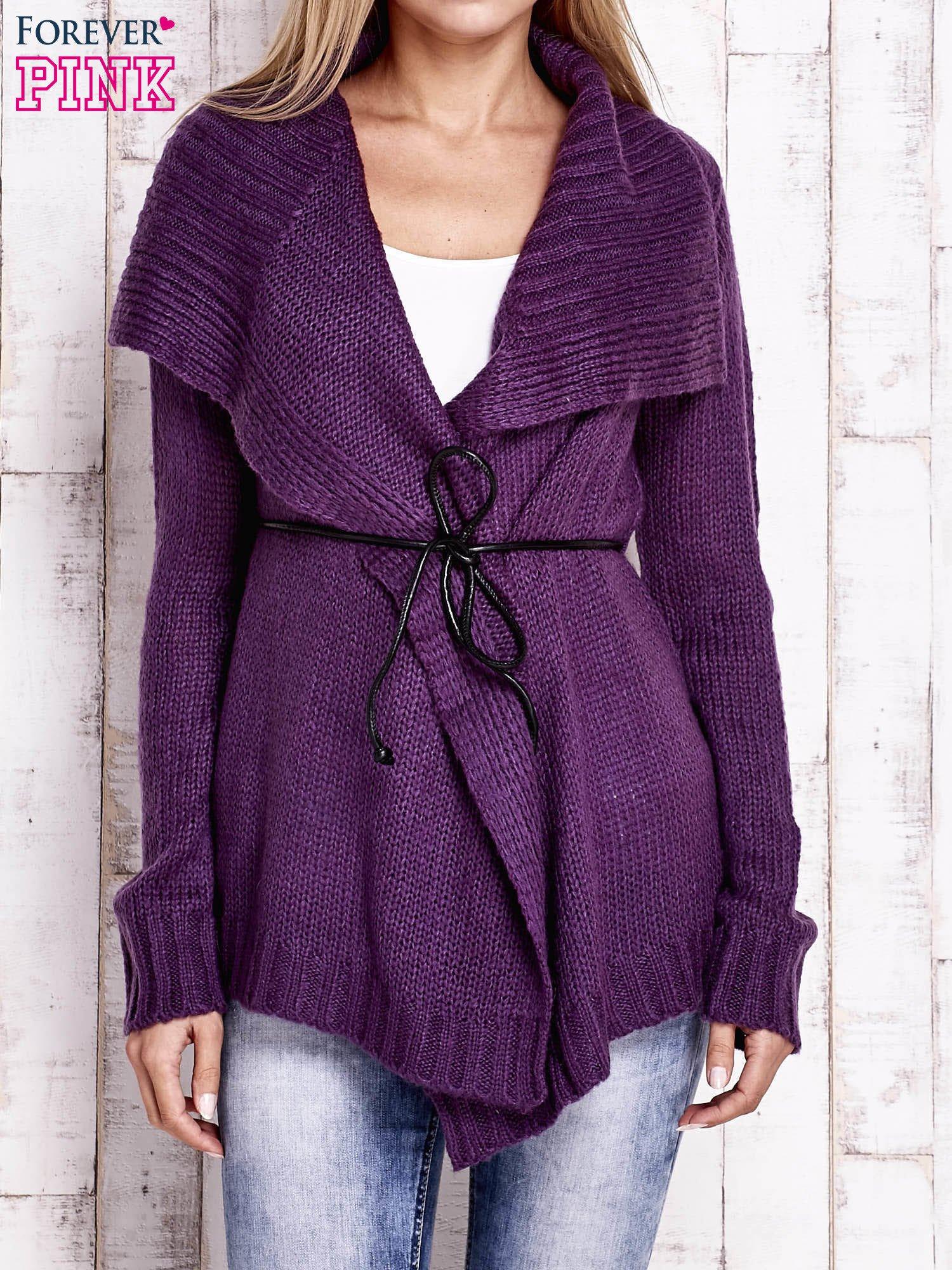 Fioletowy sweter z wiązaniem                                  zdj.                                  1
