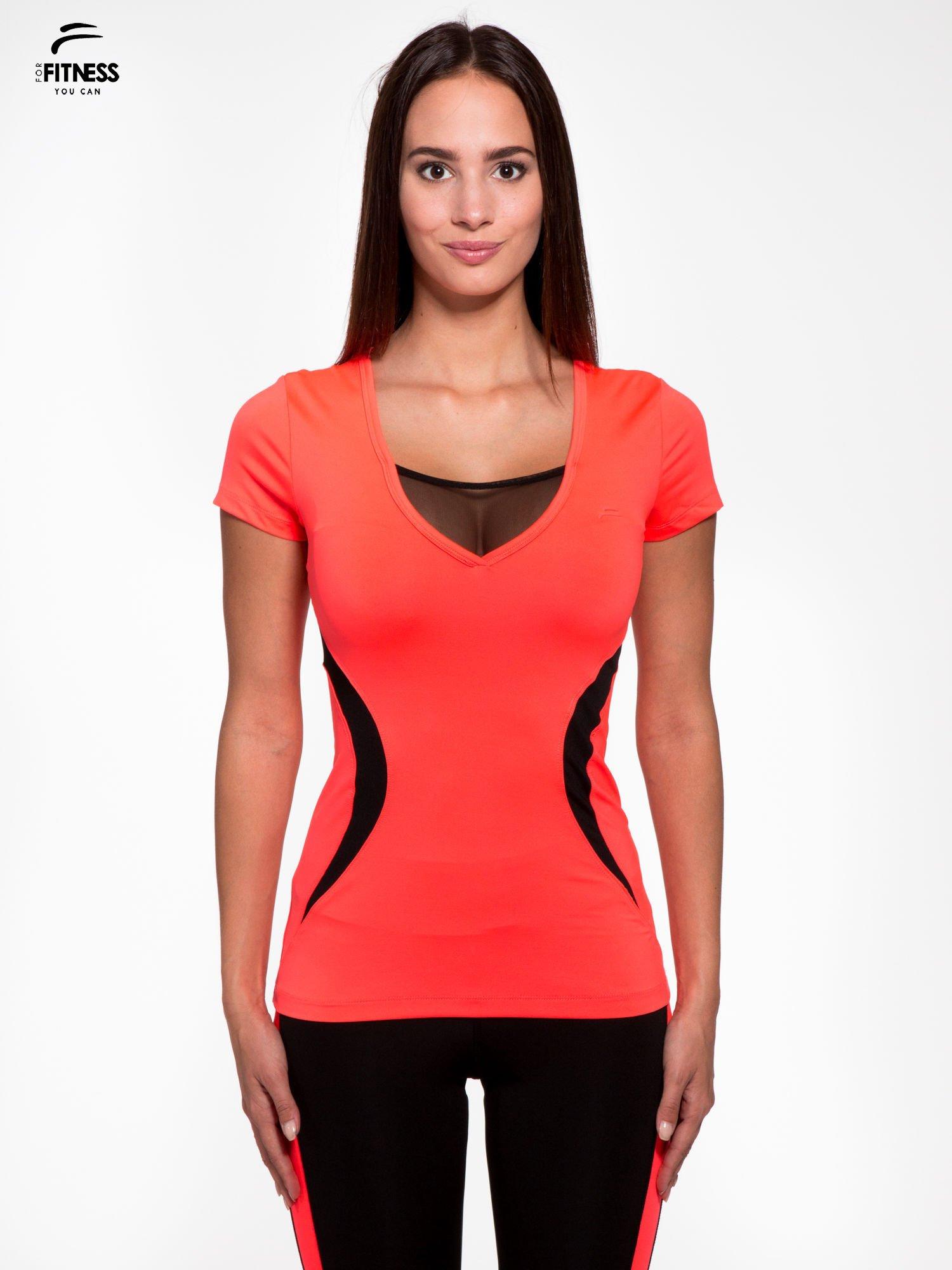 8c9a38b632fb9d Fluoróżowy termoaktywny t-shirt sportowy z siateczką przy dekolcie ♢ Performance  RUN ...