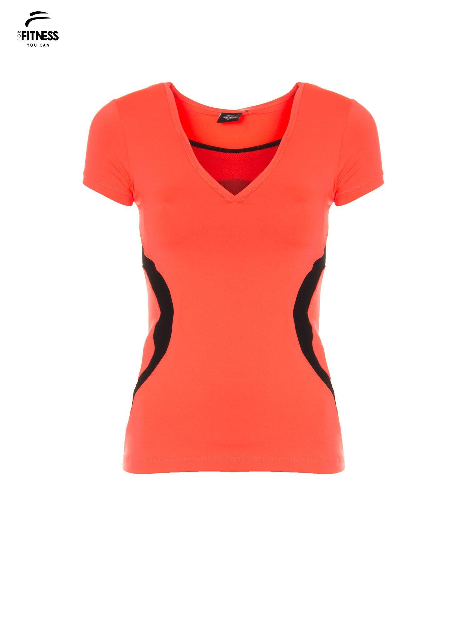 afb13c8ddc4f47 1; Fluoróżowy termoaktywny t-shirt sportowy z siateczką przy dekolcie ♢ Performance  RUN ...