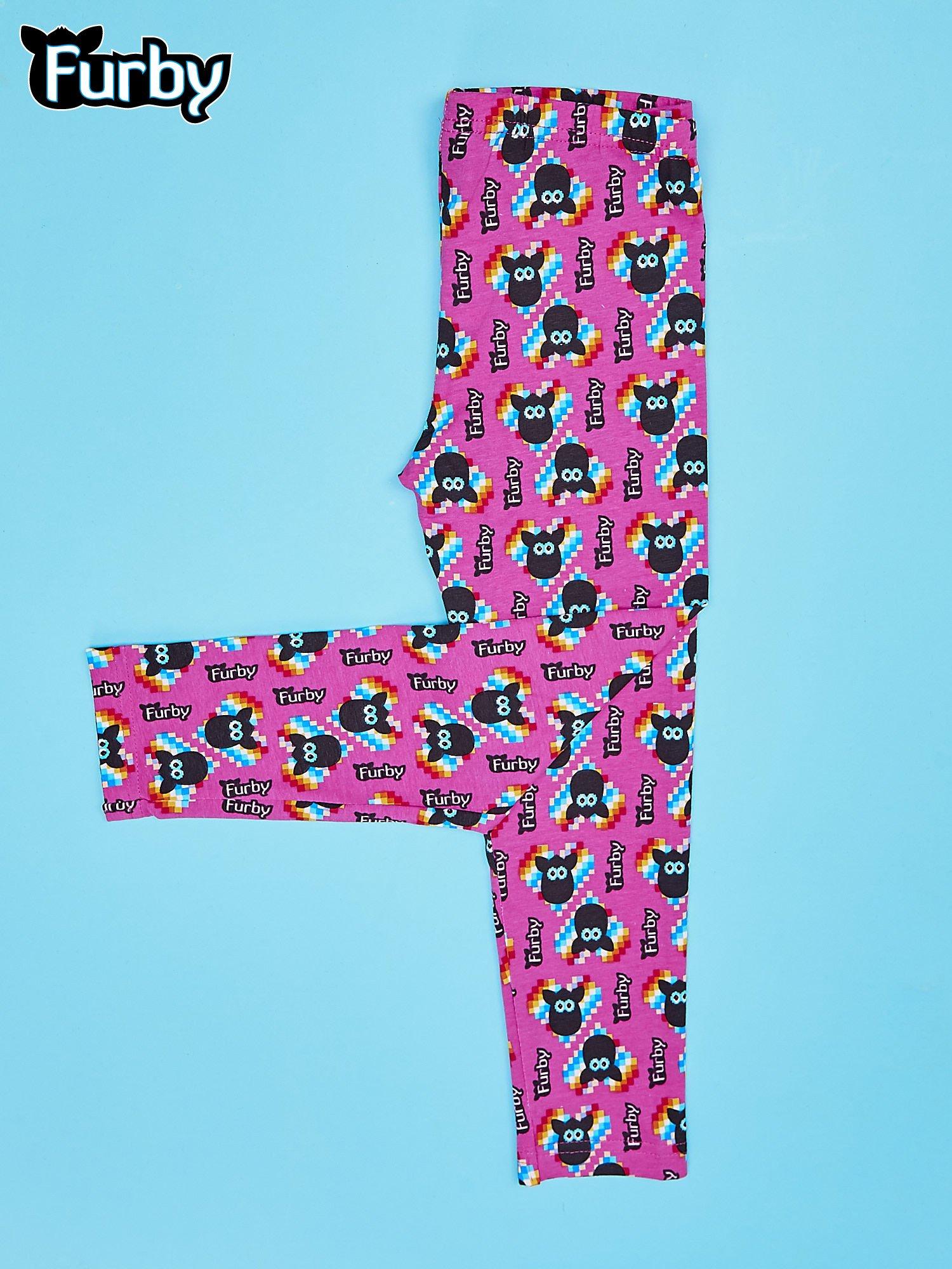 Fuksjowe legginsy dla dziewczynki z nadrukiem FURBY                                  zdj.                                  2