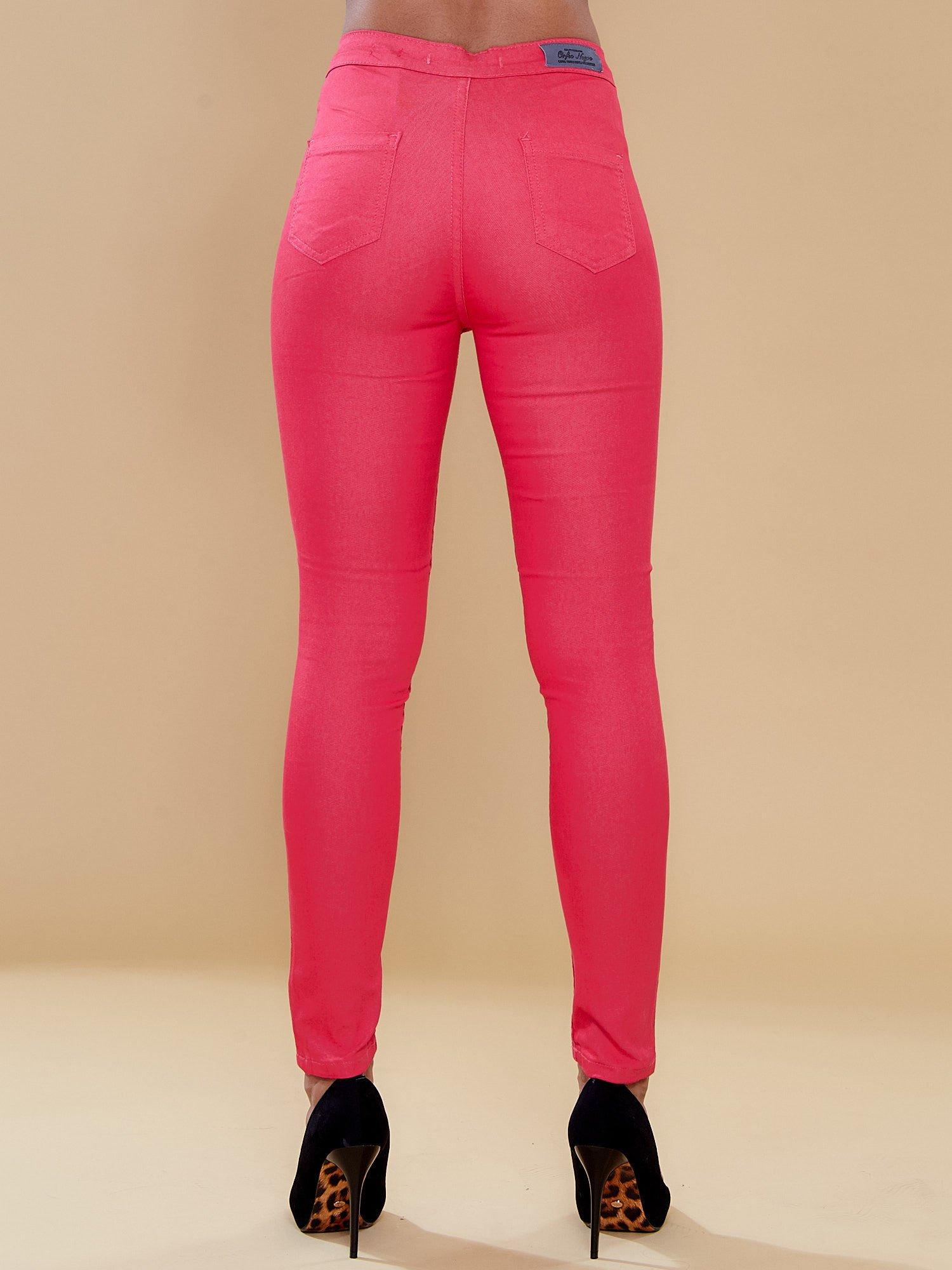 Fuksjowe spodnie rurki skinny                                  zdj.                                  3