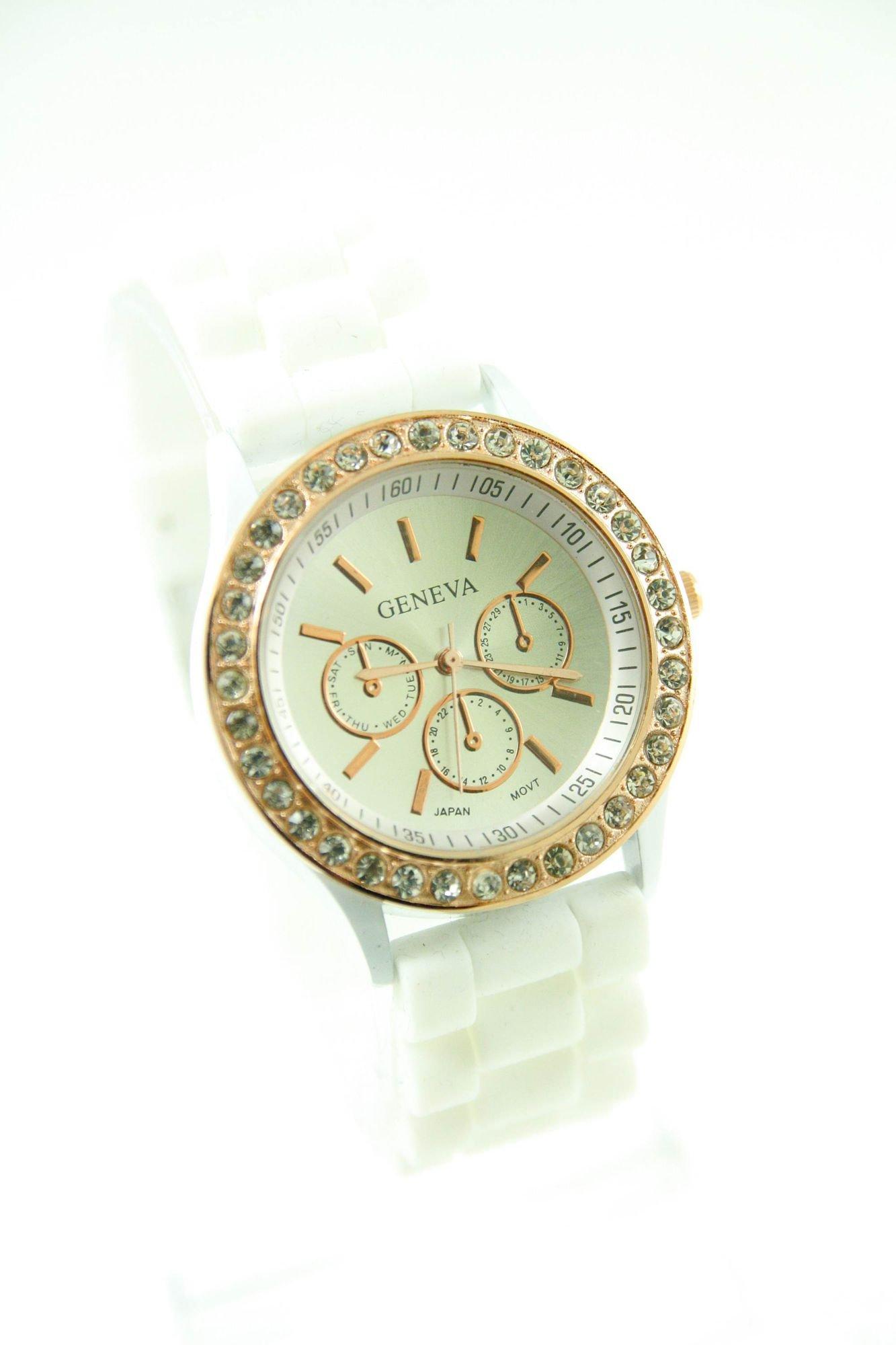 GENEVA Biały zegarek damski z cyrkoniami na silikonowym pasku                                  zdj.                                  1