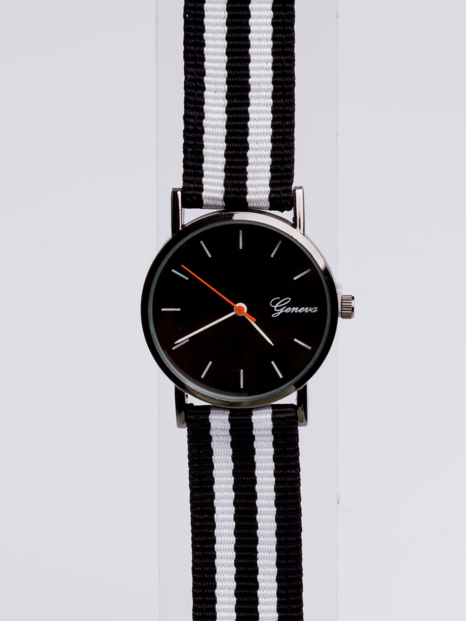 GENEVA Czarny zegarek unisex z modnym materiałowym kolorowym paskiem                                  zdj.                                  3