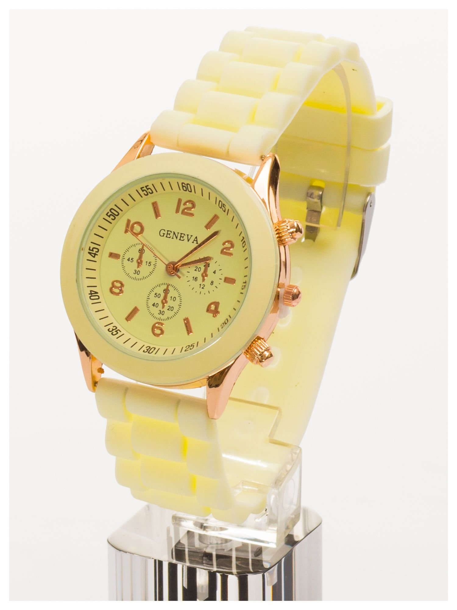 GENEVA Ecru zegarek damski na silikonowym pasku                                  zdj.                                  3