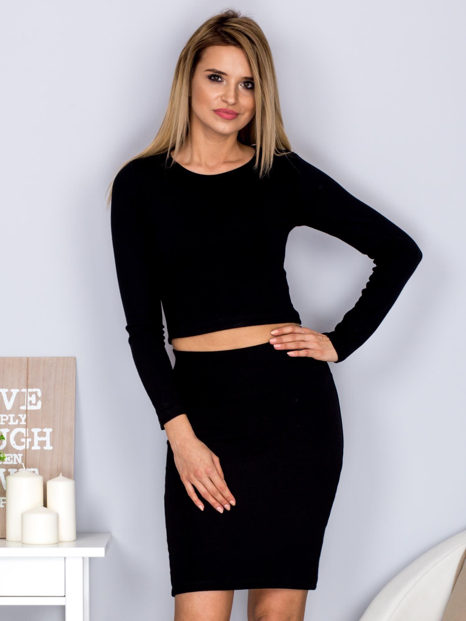 Modish Gładki komplet krótka bluzka i ołówkowa spódnica czarny - Bluzka KP36