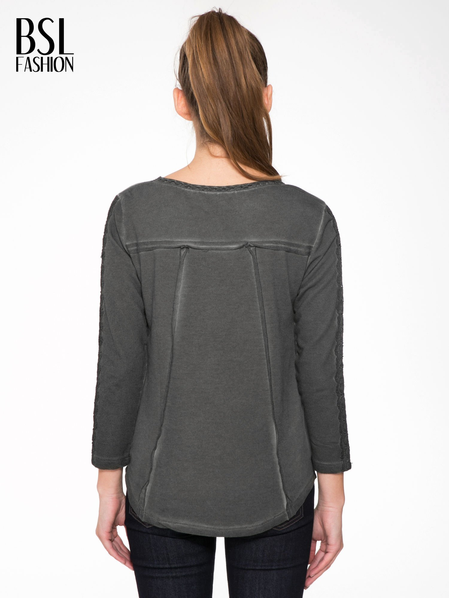 Grafitowa bluza z koronkowymi aplikacjami                                  zdj.                                  4