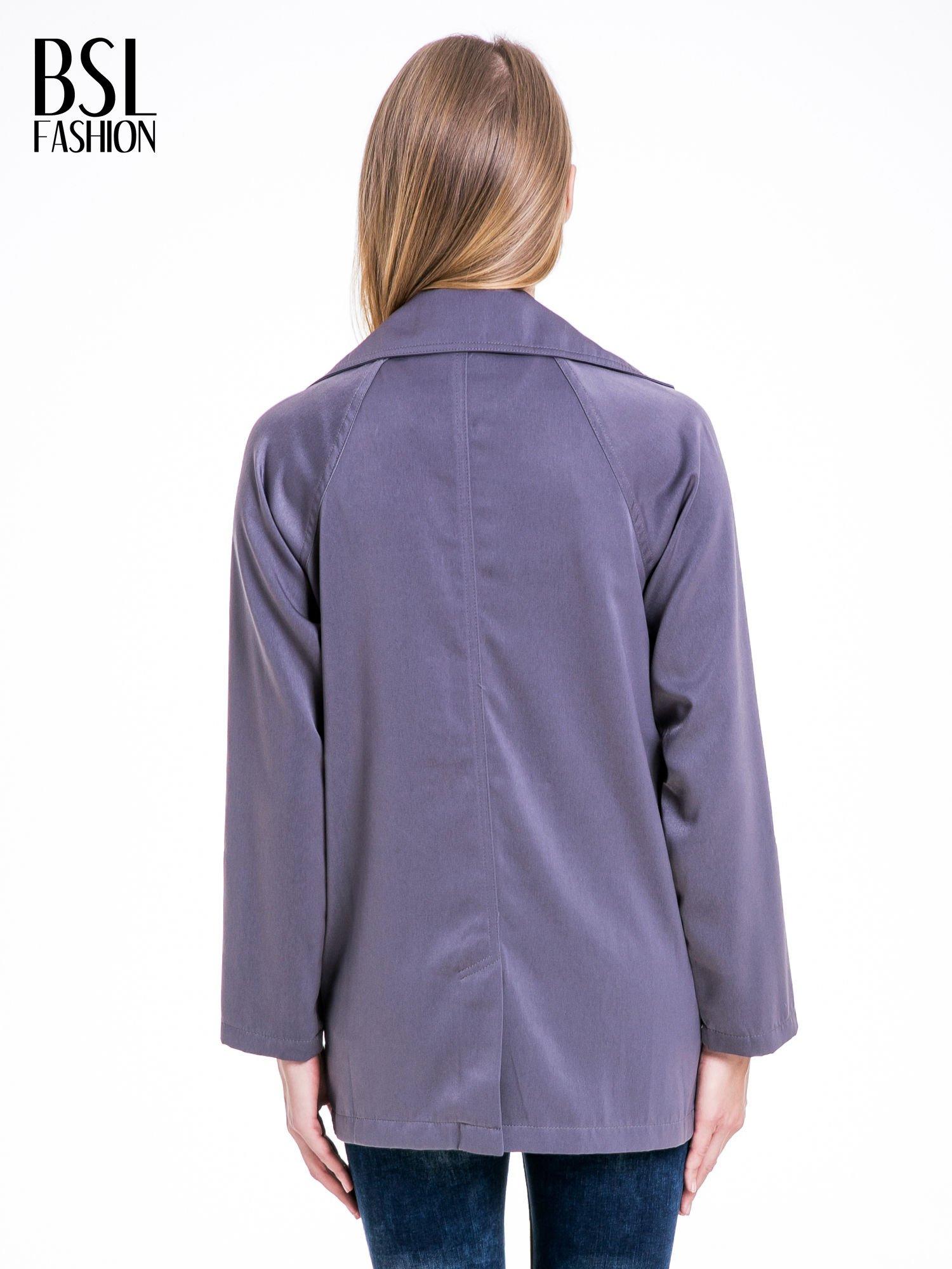 Grafitowy żakiet boyfriend jacket z podwijanymi rękawami                                  zdj.                                  5