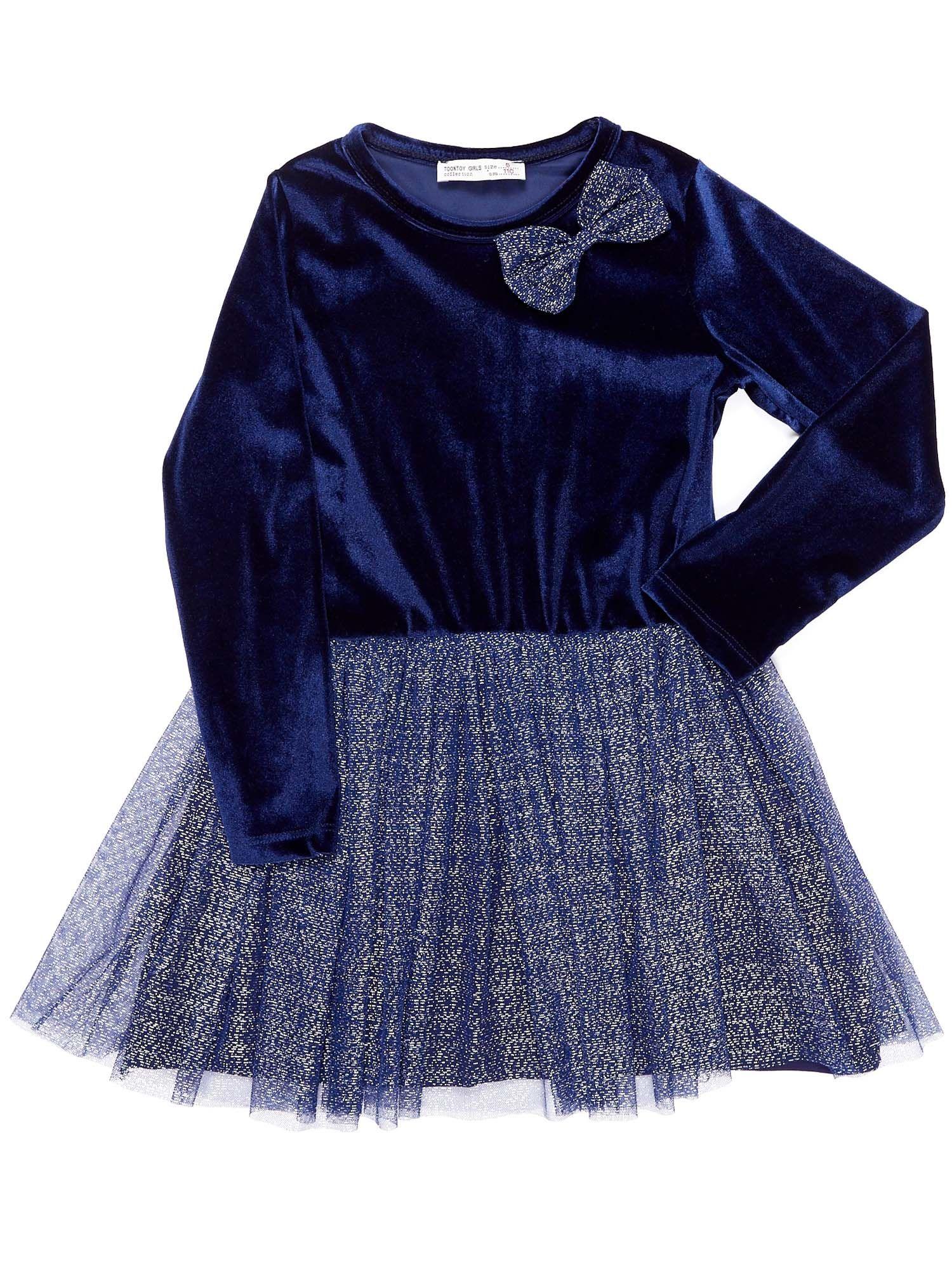 18177912f0 Granatowa aksamitna sukienka dla dziewczynki - Dziecko Dziewczynka ...