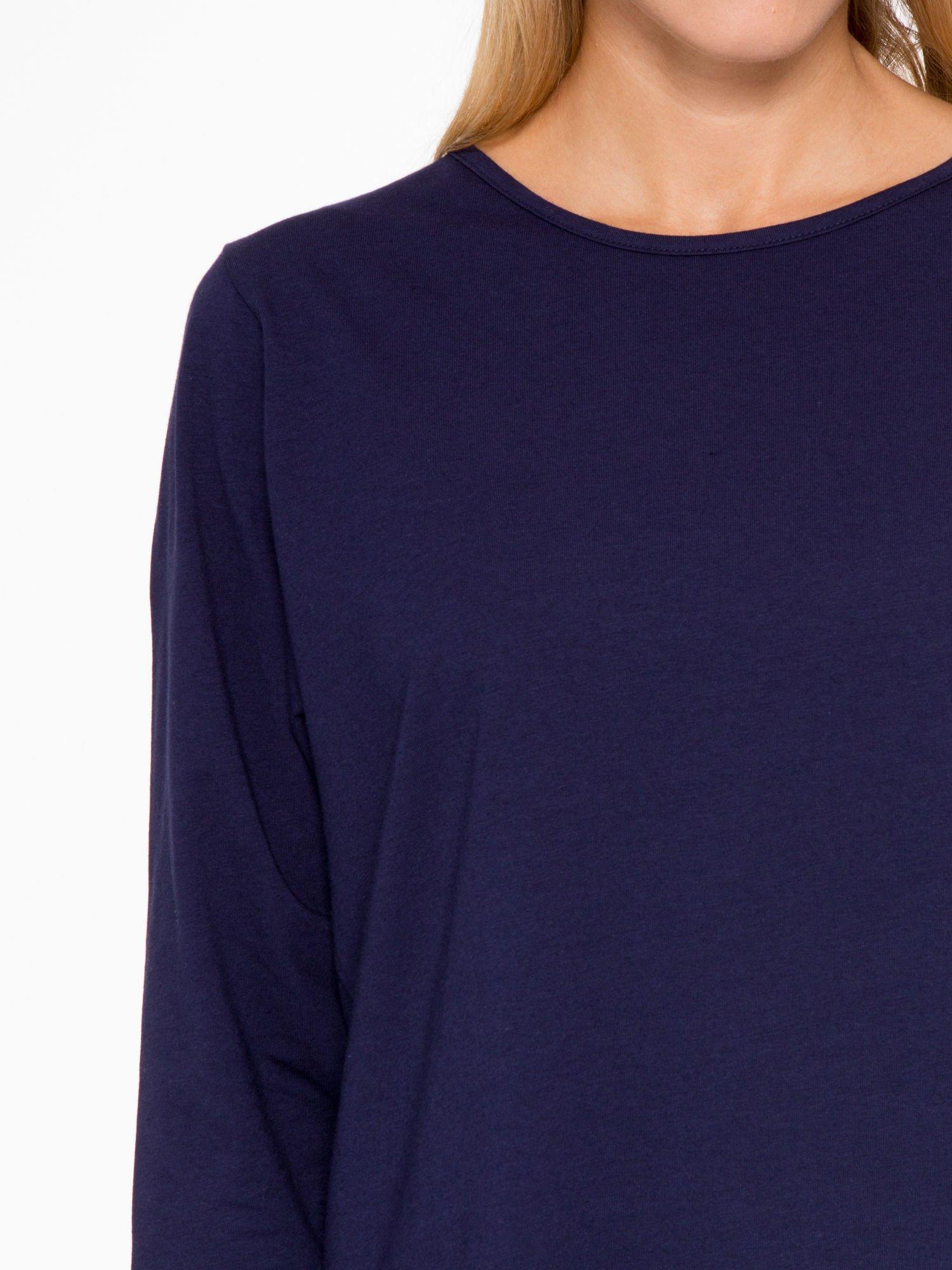 Granatowa basicowa bluzka z rękawem 3/4                                  zdj.                                  6