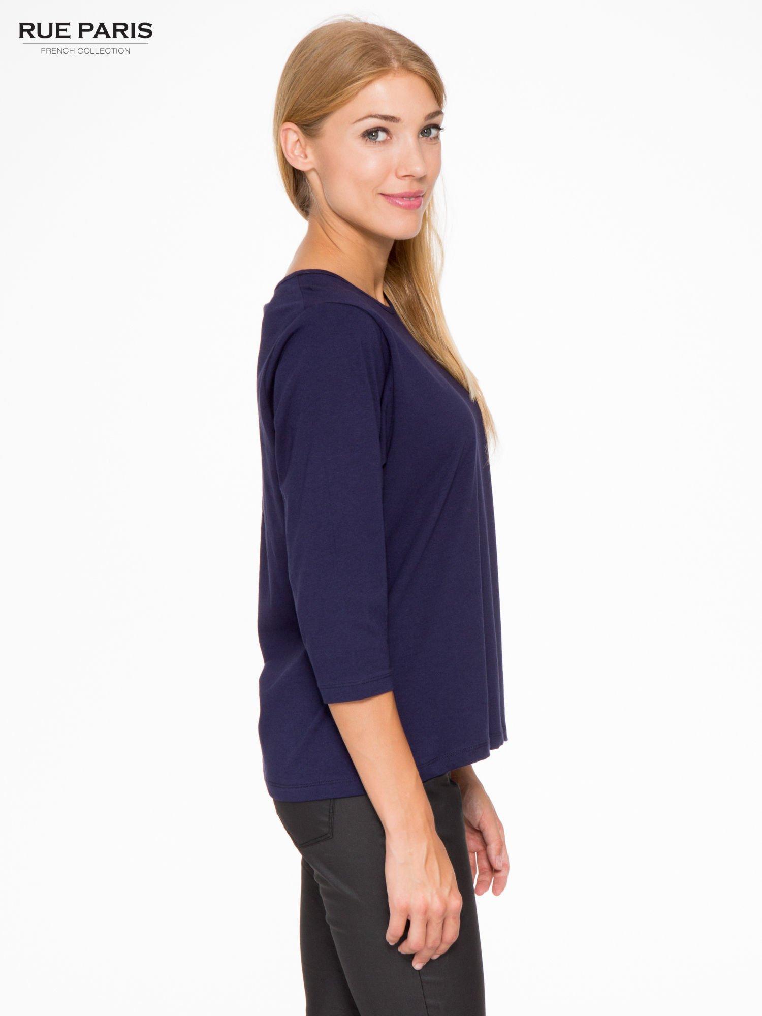 Granatowa basicowa bluzka z rękawem 3/4                                  zdj.                                  3