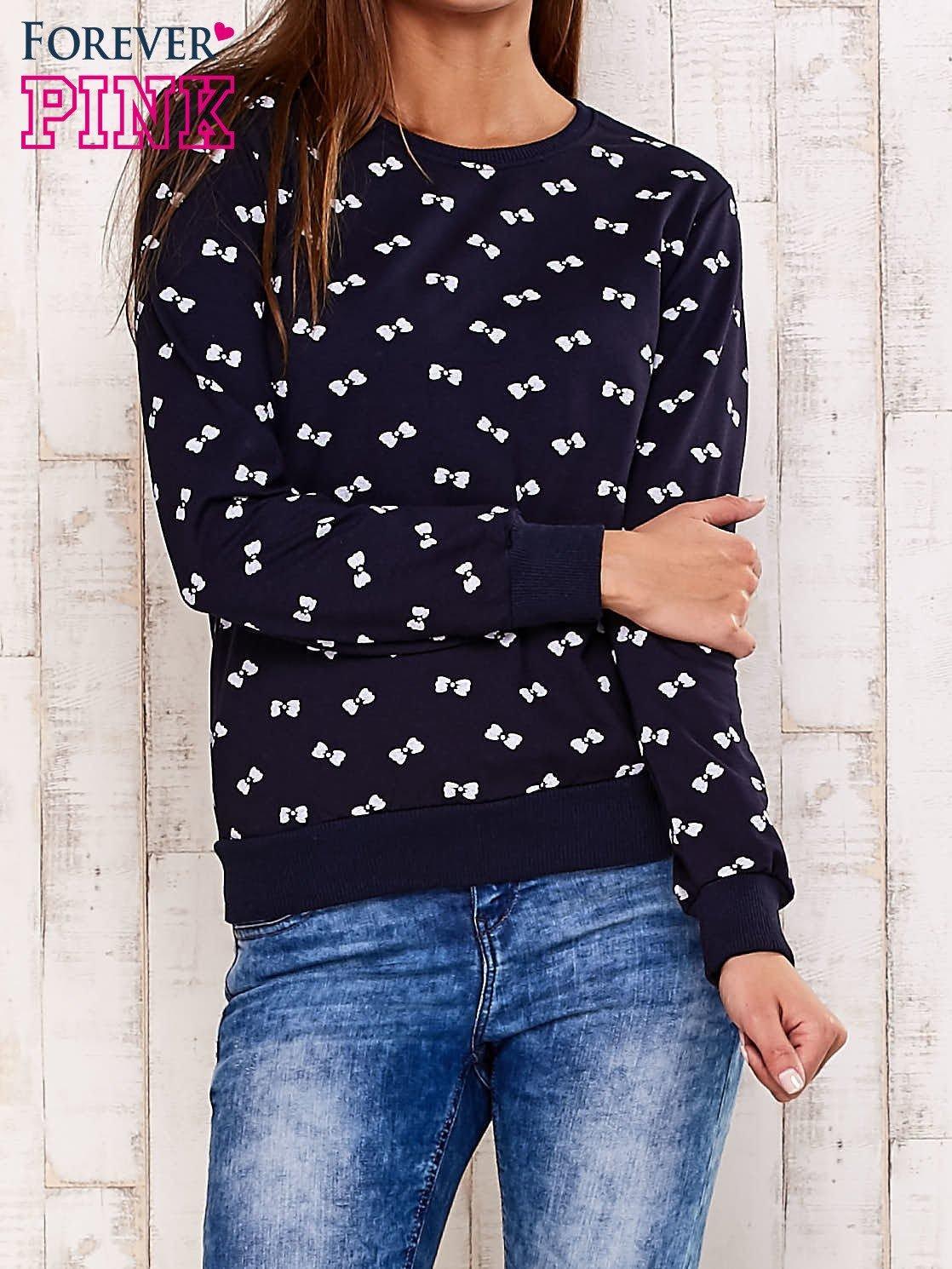 Granatowa bluza motyw kokardek                                  zdj.                                  1