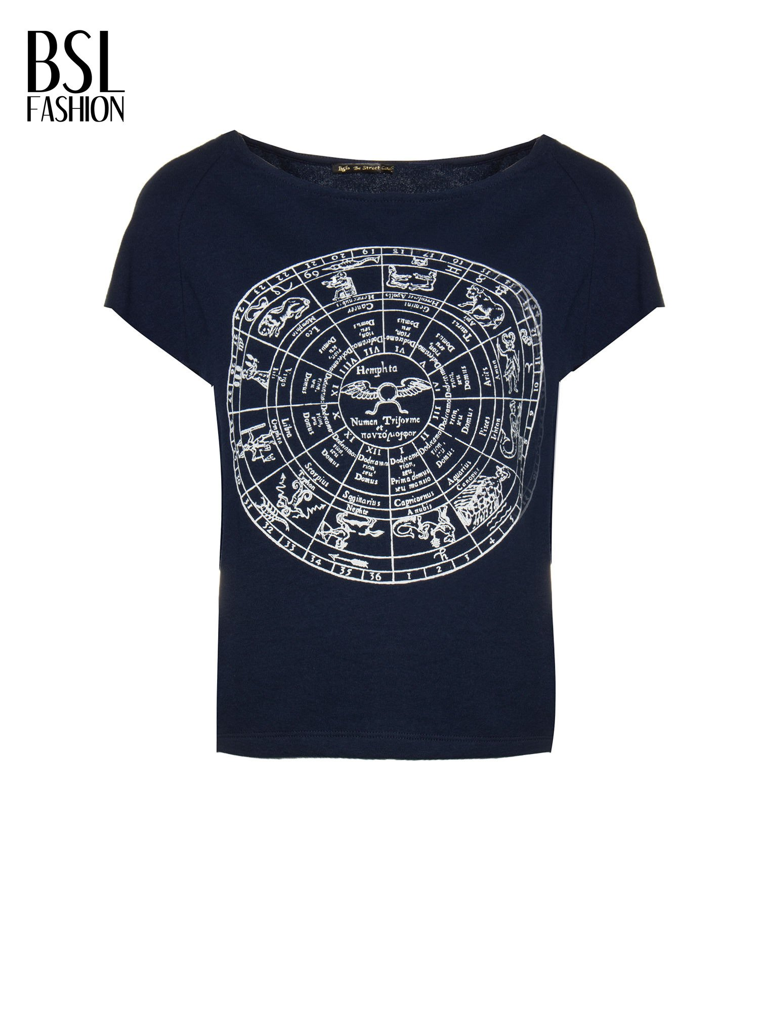 Granatowa bluza z nadrukiem tarczy zodiakalnej i szerokimi rękawami                                  zdj.                                  5