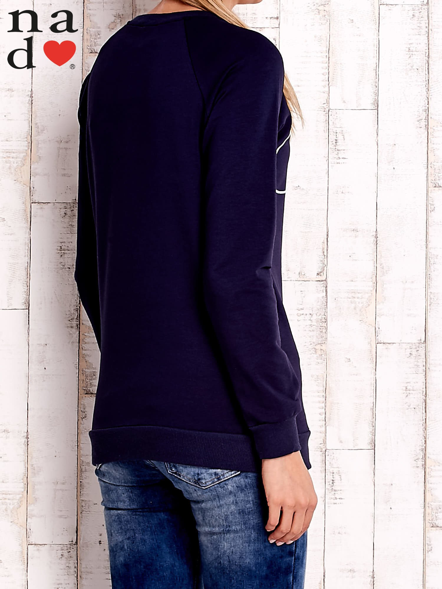 Granatowa bluza z napisem SMILER                                  zdj.                                  4