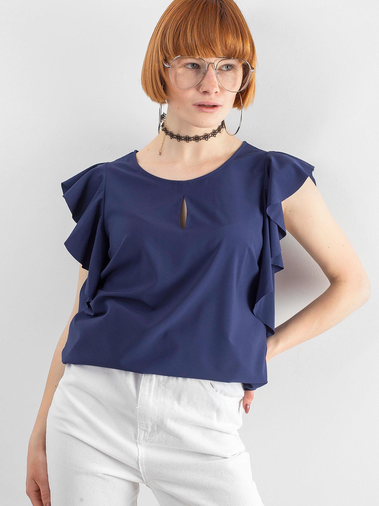 e05012dff3b4dd Granatowa bluzka z falbanami - Bluzka na co dzień - sklep eButik.pl