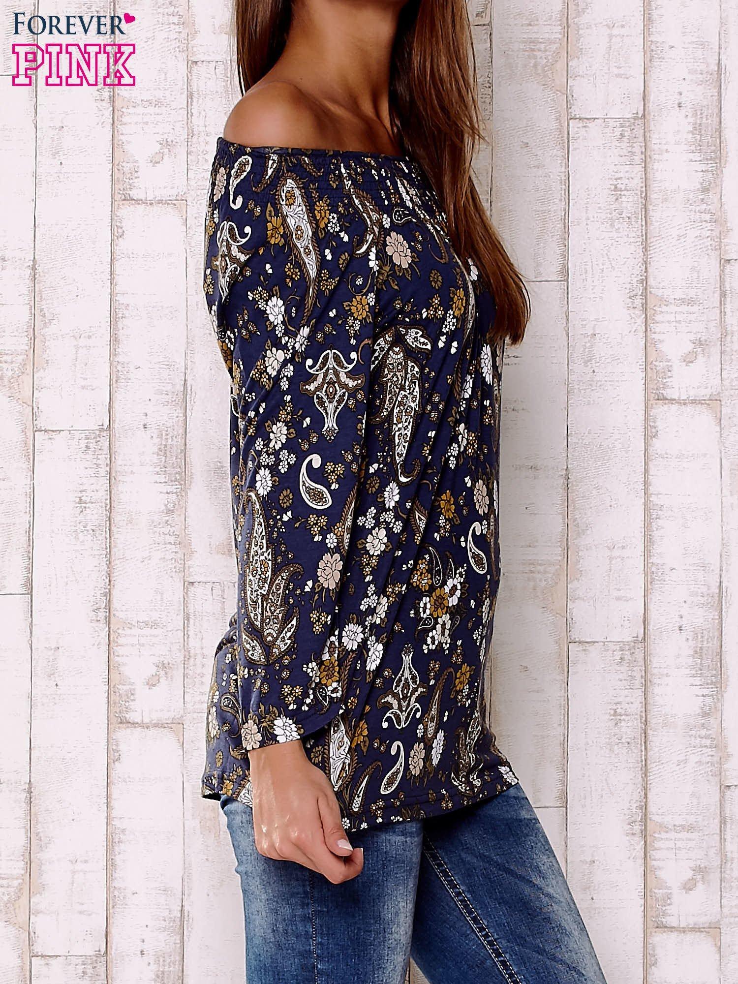 Granatowa bluzka z motywem paisley                                  zdj.                                  3