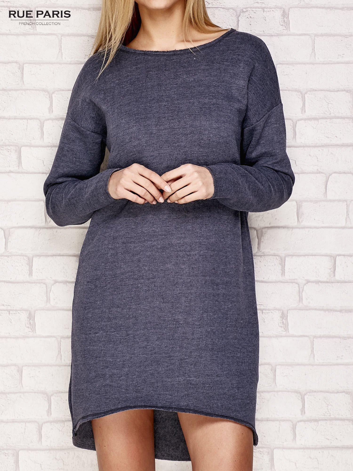 Granatowa dresowa sukienka z luźnymi rękawami                                  zdj.                                  1