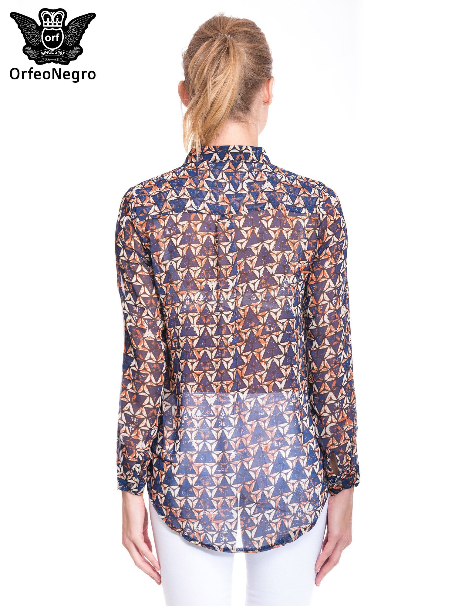 Granatowa koszula mgiełka w geometryczne wzory                                  zdj.                                  2