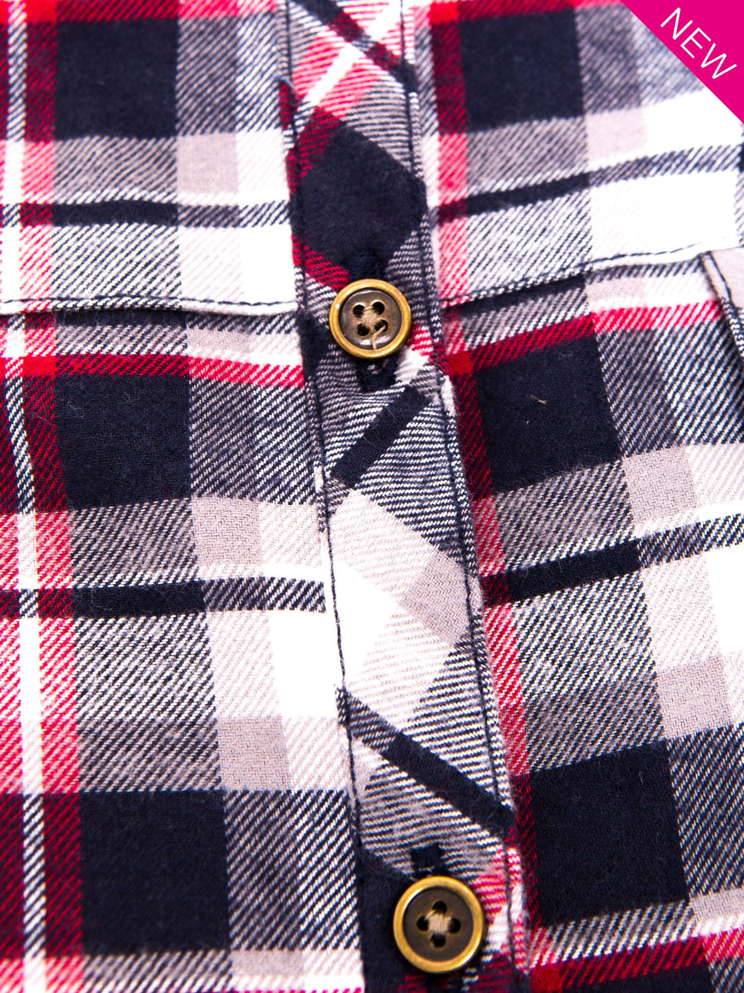 Granatowa koszula w kratę z kieszonką z przodu                                  zdj.                                  8