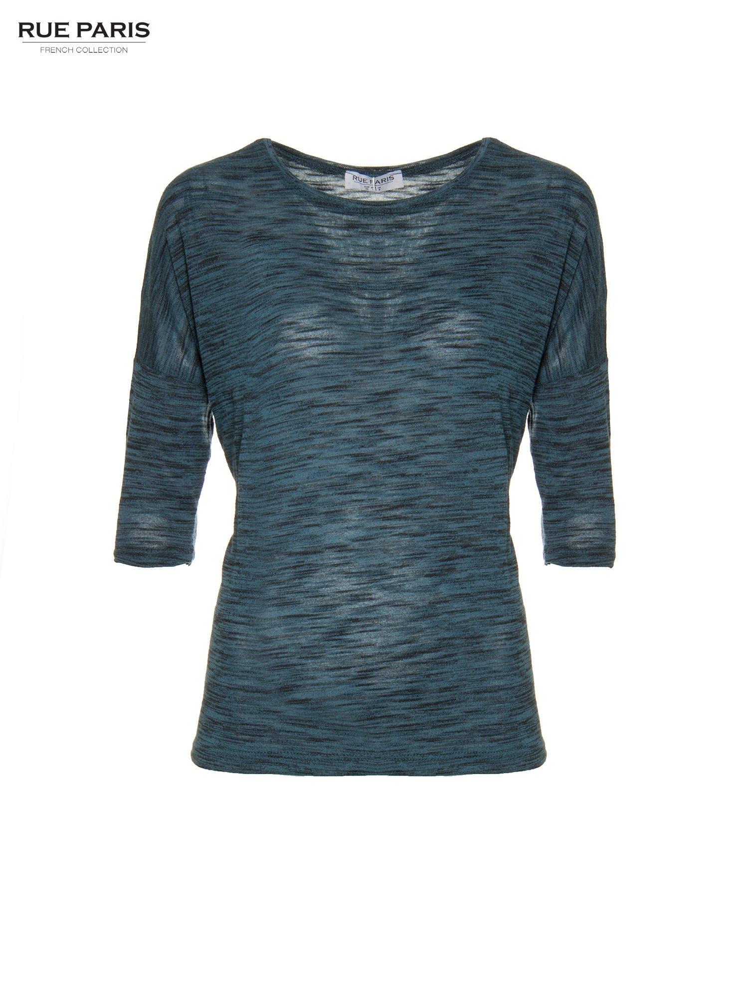 Granatowa melanżowa bluzka o obniżonej linii ramion                                  zdj.                                  5