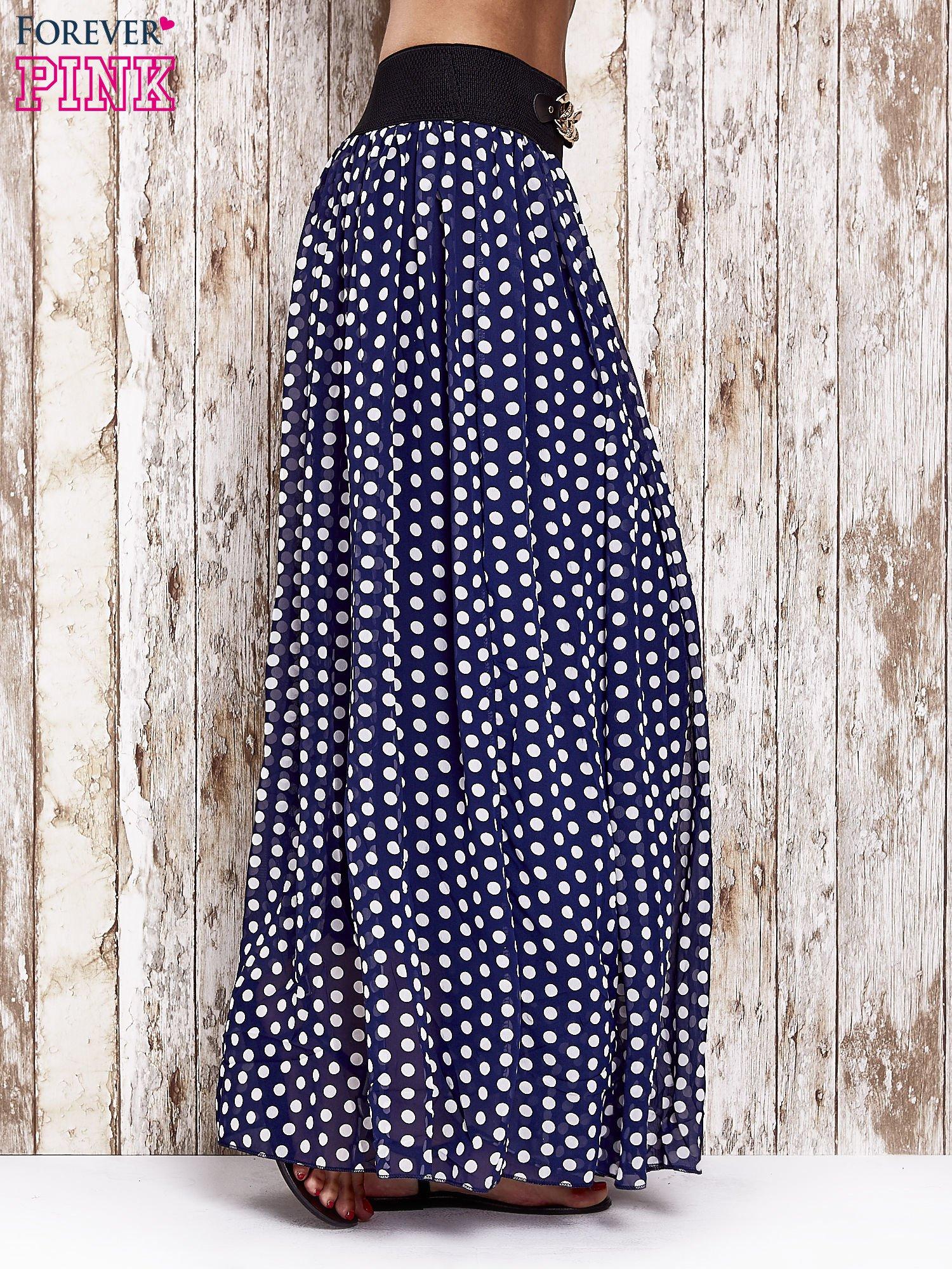 Granatowa spódnica maxi w grochy z ozdobnym pasem                                  zdj.                                  3