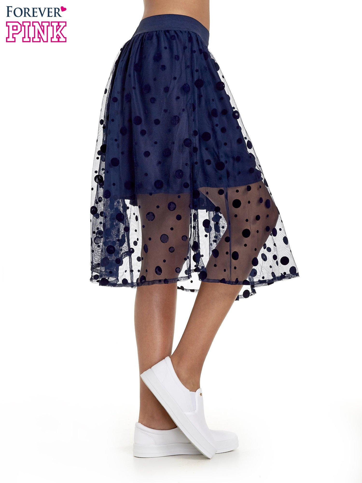 Granatowa spódnica z tiulową warstwą w groszki                                  zdj.                                  3