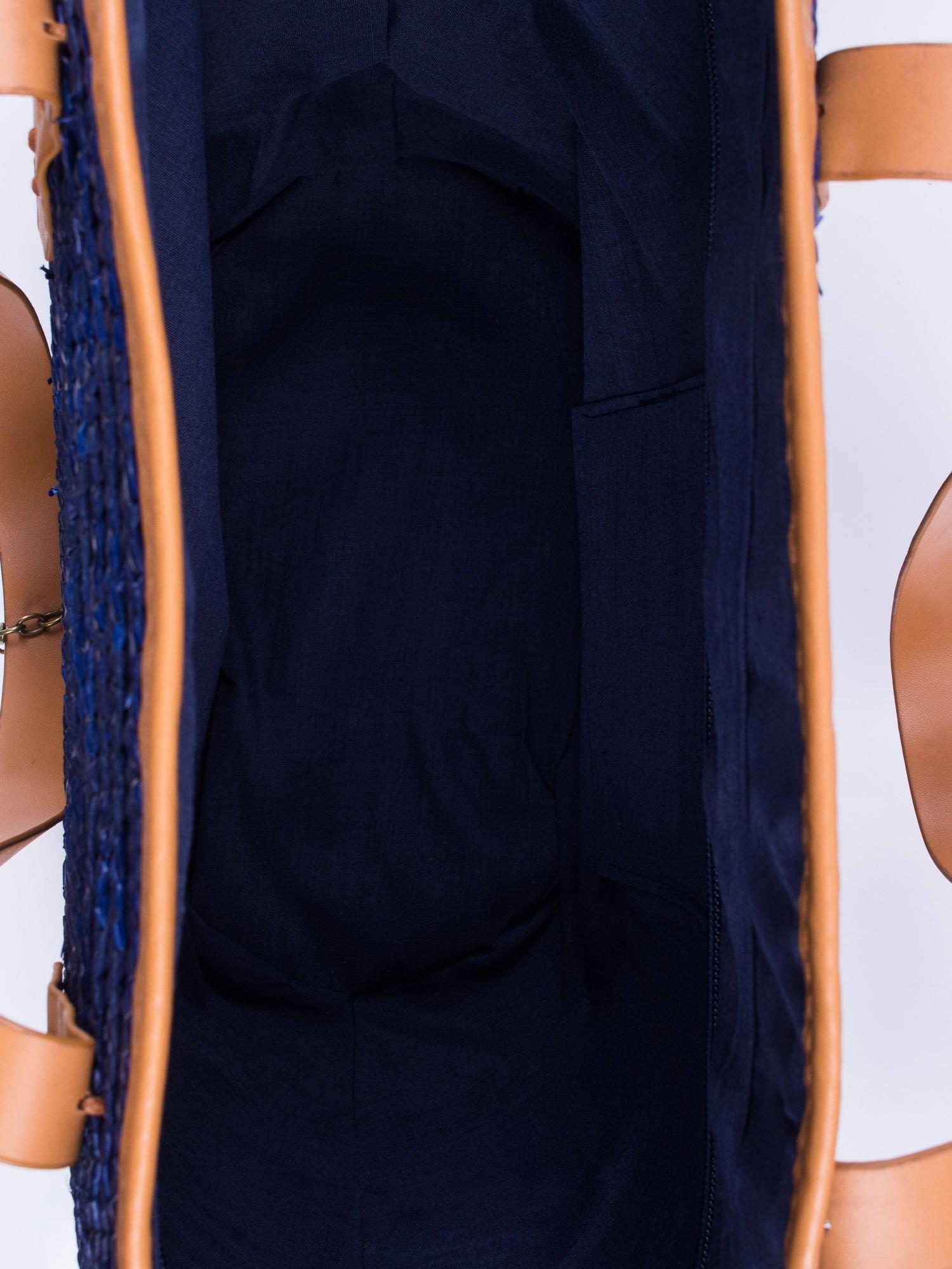Granatowa torba koszyk plażowy ze skórzanymi rączkami                                  zdj.                                  4