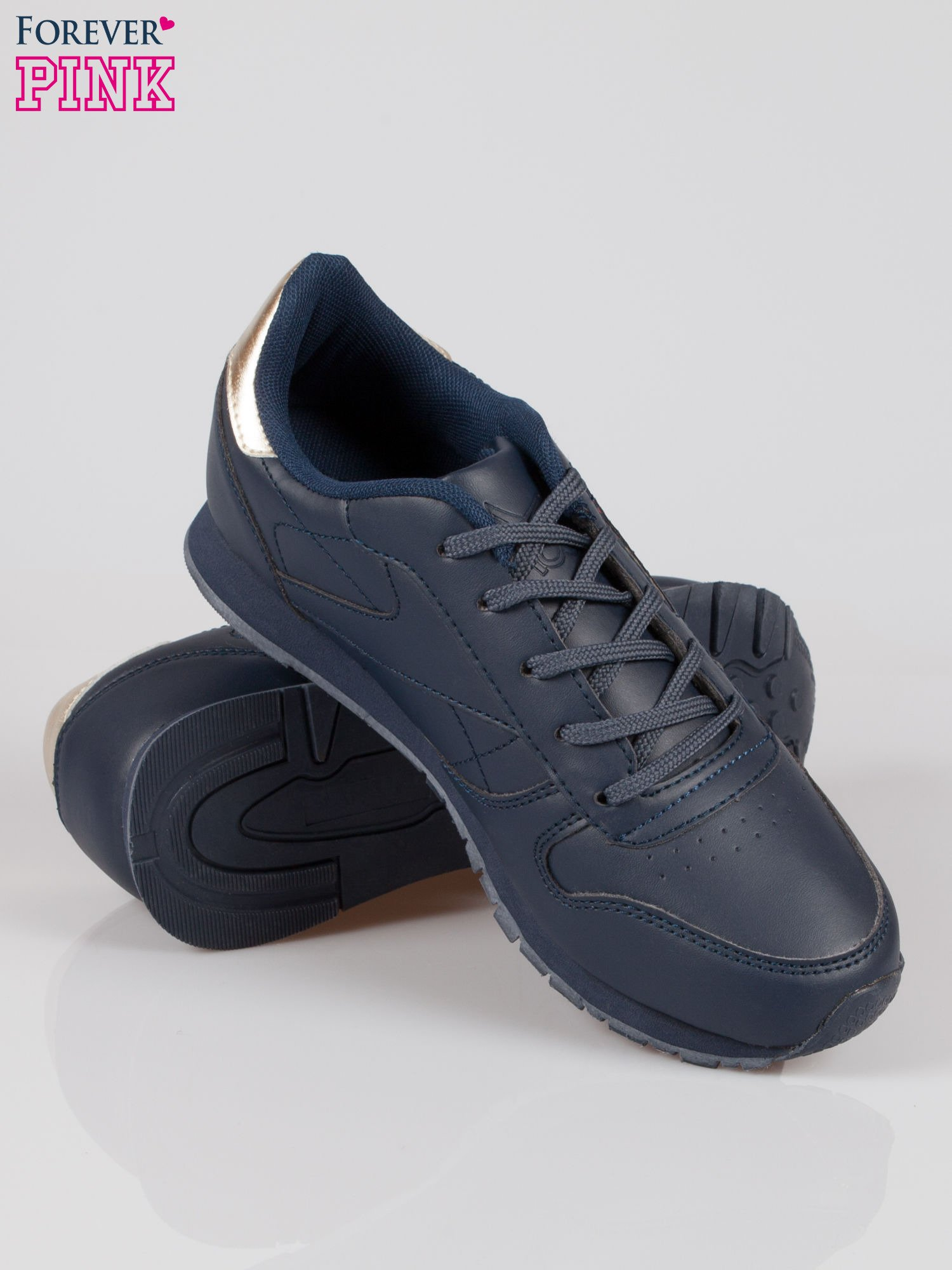 Granatowe buty sportowe ze złotym zapiętkiem                                  zdj.                                  4