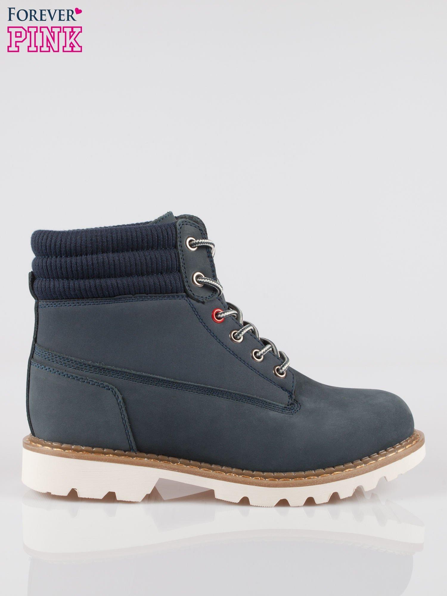 Granatowe buty trekkingowe traperki damskie z elastycznym kołnierzem ze skóry naturalnej                                  zdj.                                  1