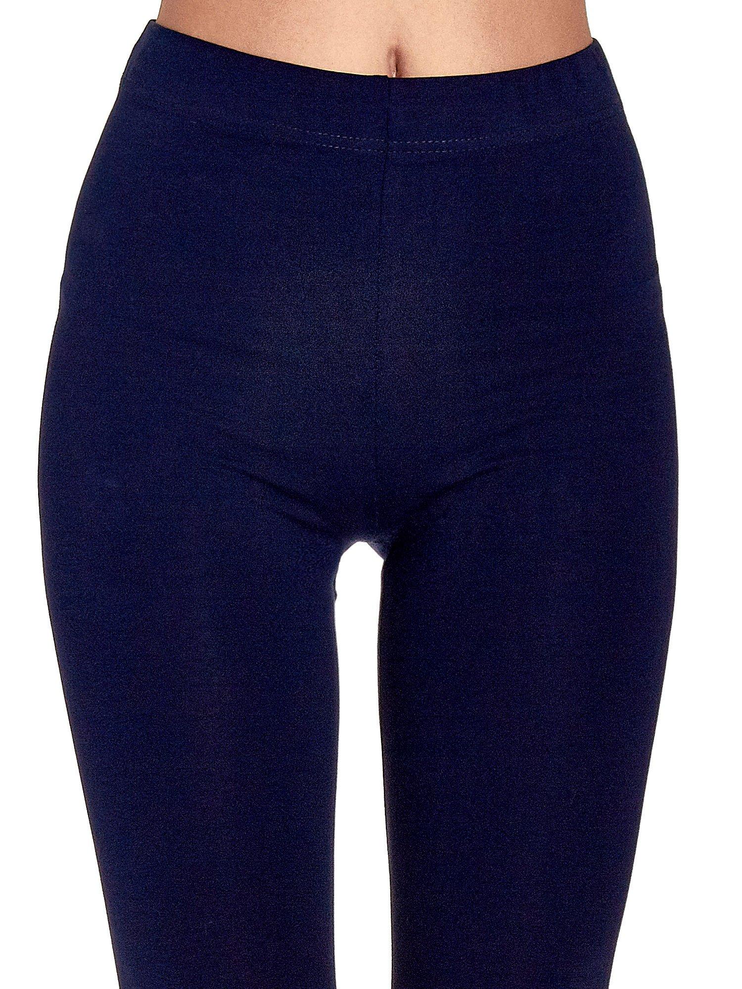 Granatowe gładkie legginsy damskie basic                                  zdj.                                  5