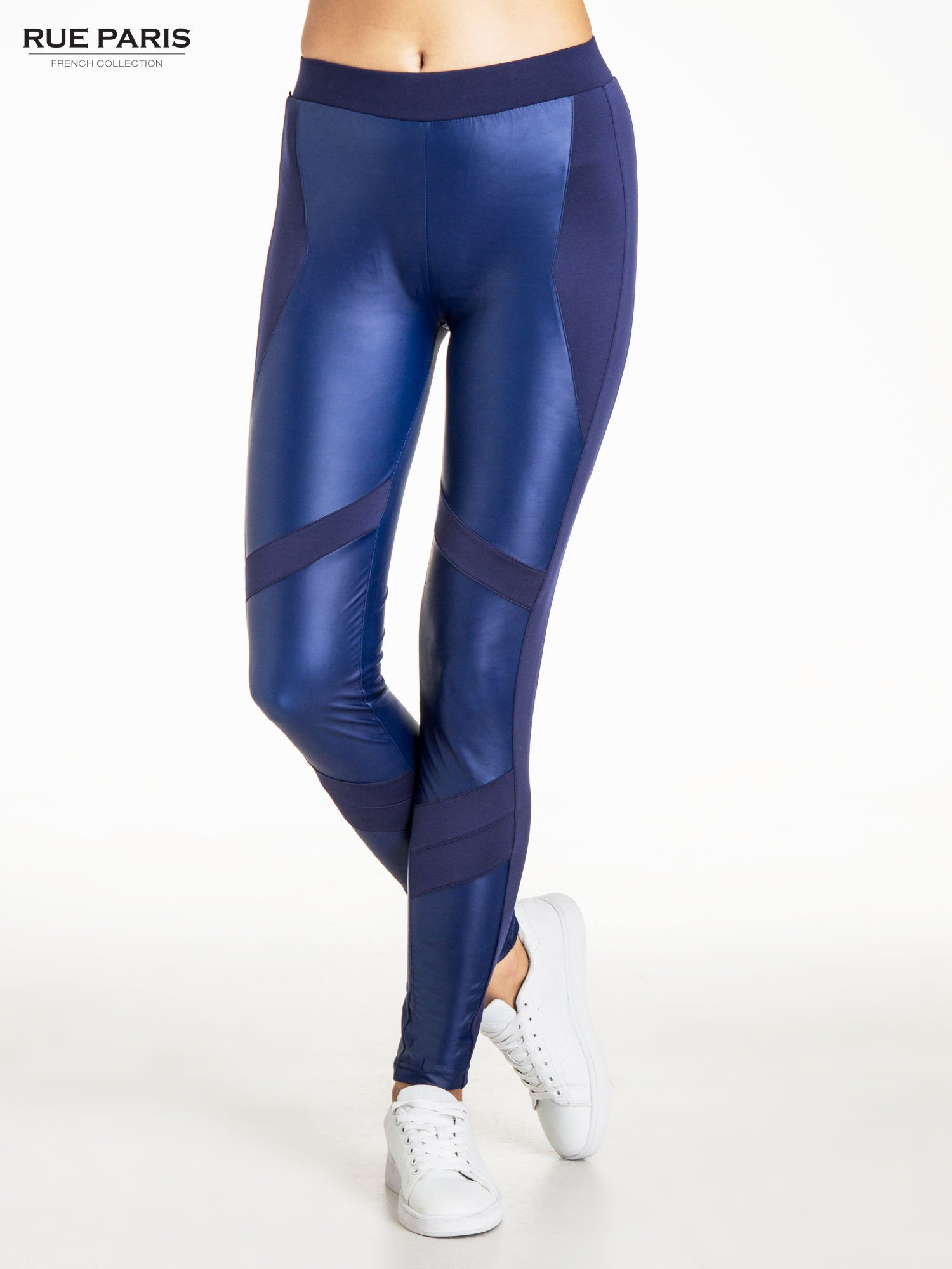 Granatowe legginsy modelujące ze skórzanymi panelami                                  zdj.                                  1