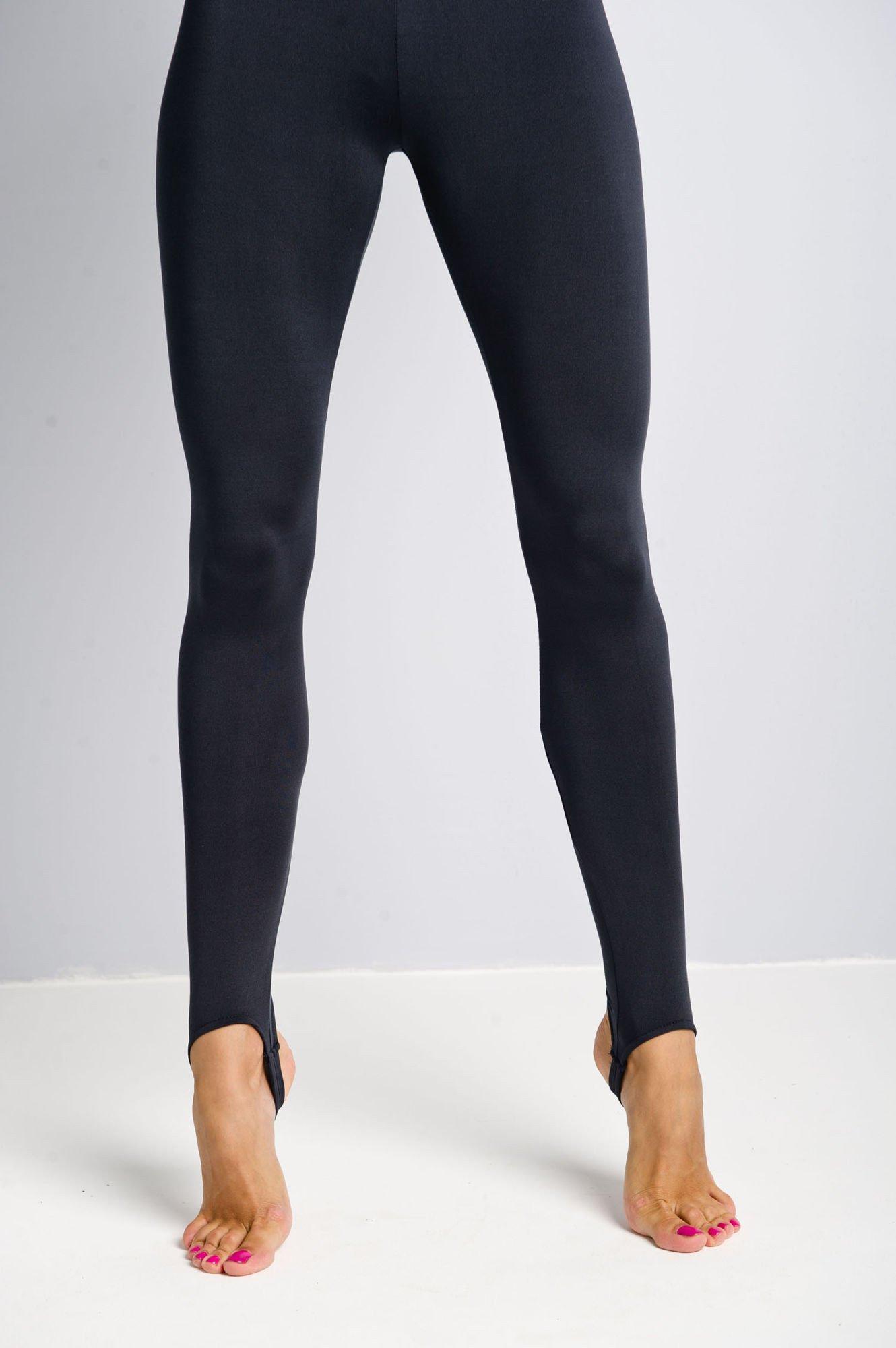 Granatowe legginsy zakładane na stopę                                  zdj.                                  4