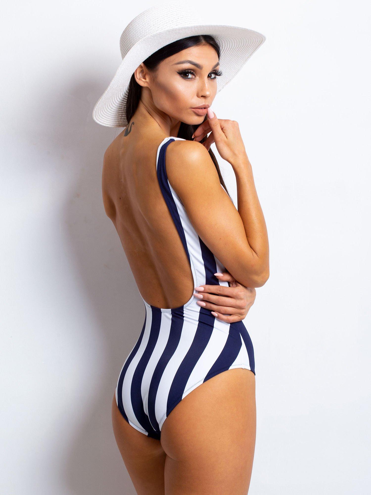 6199be863e73c0 Granatowo-biały kostium kąpielowy Camouflage - Bielizna strój kąpielowy -  sklep eButik.pl