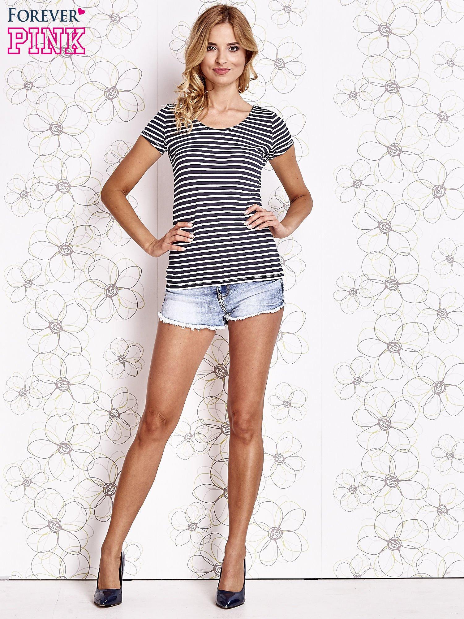 Granatowo-biały t-shirt w paski crossed back                                  zdj.                                  4